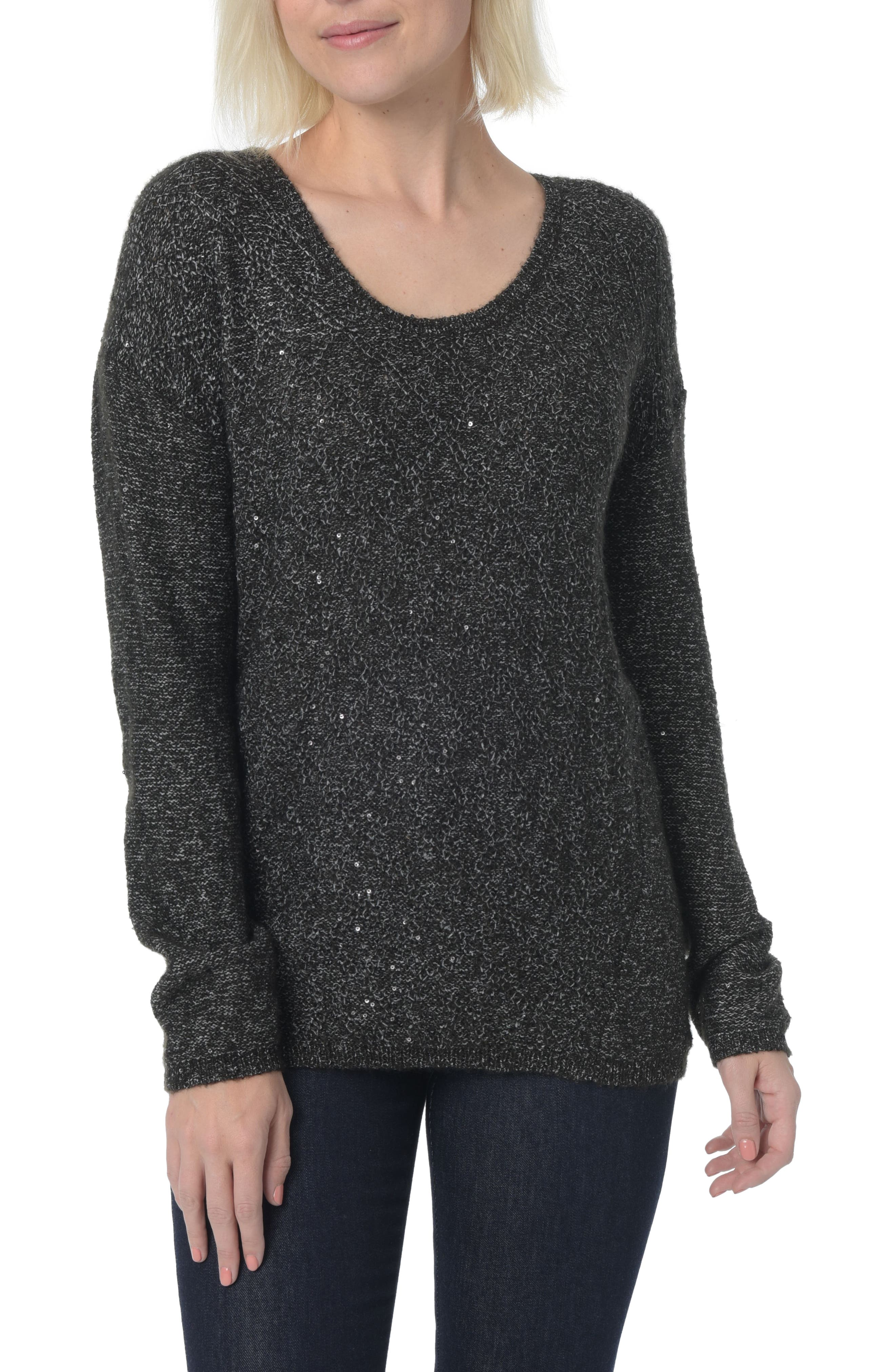 Sequin Scoop Neck Sweater,                             Main thumbnail 1, color,                             001