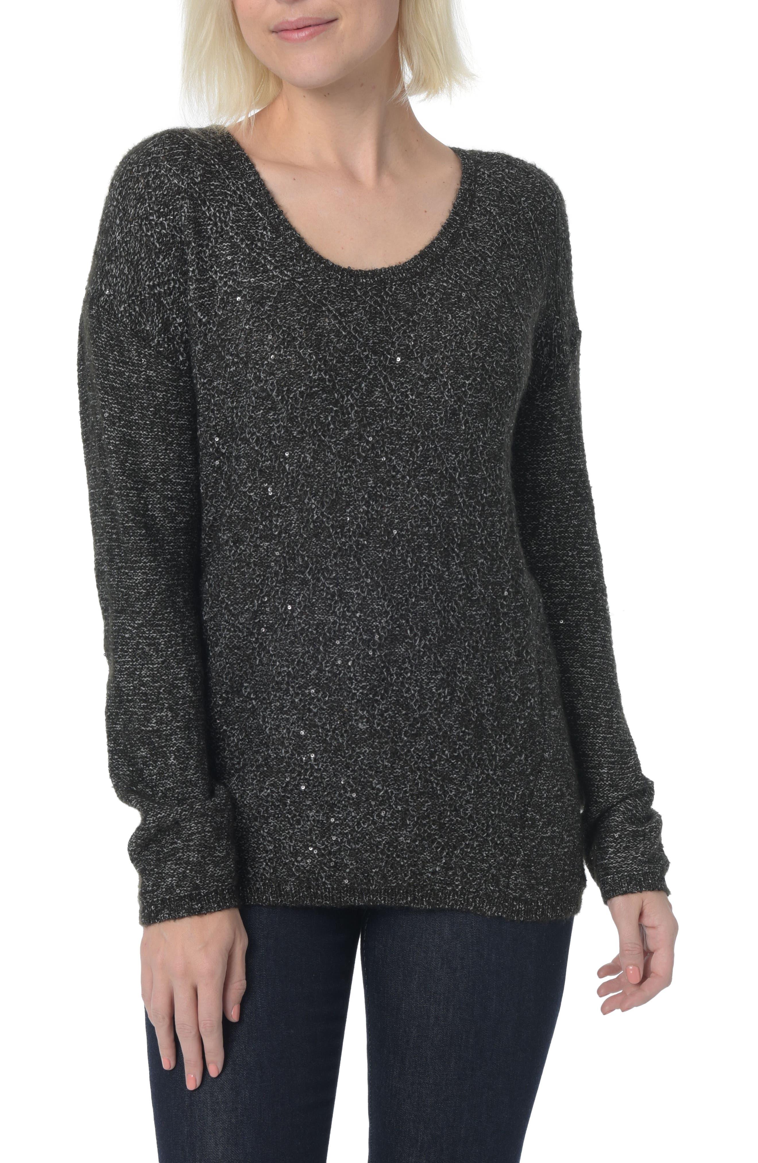 Sequin Scoop Neck Sweater,                         Main,                         color, 001