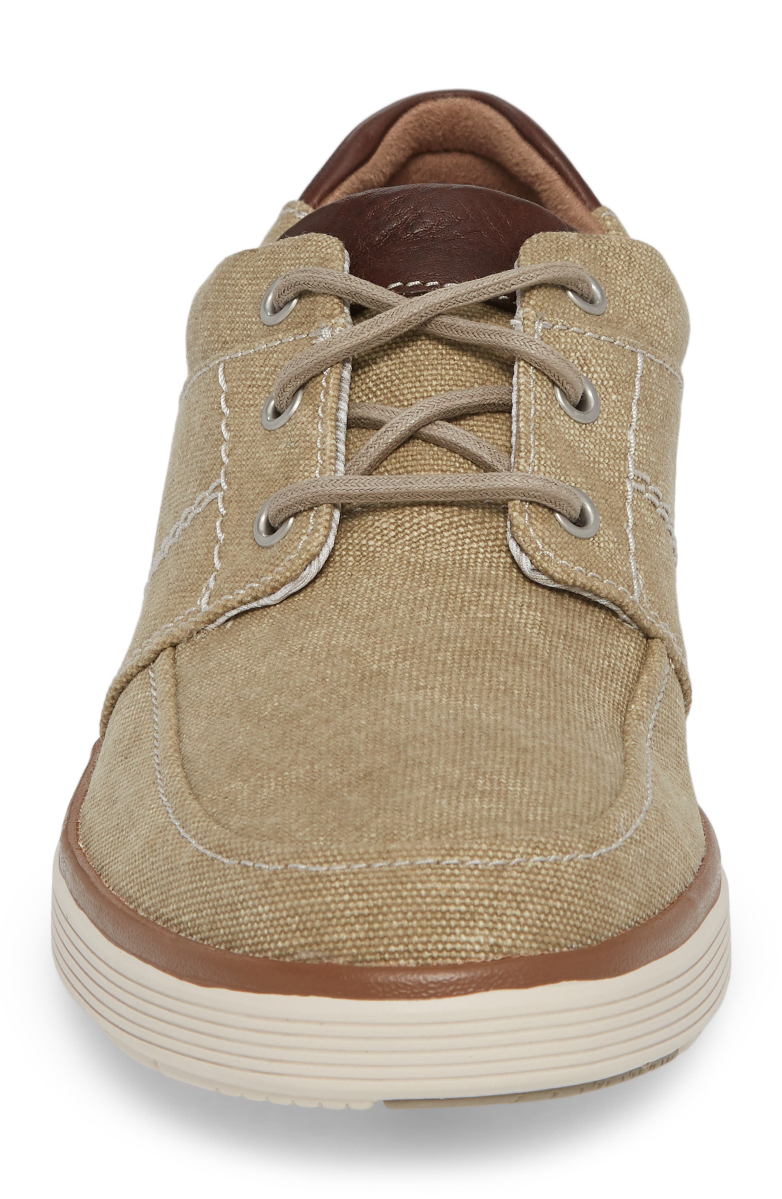Clarks<sup>®</sup> Unabode Form Sneaker,                             Alternate thumbnail 4, color,                             SAND FABRIC