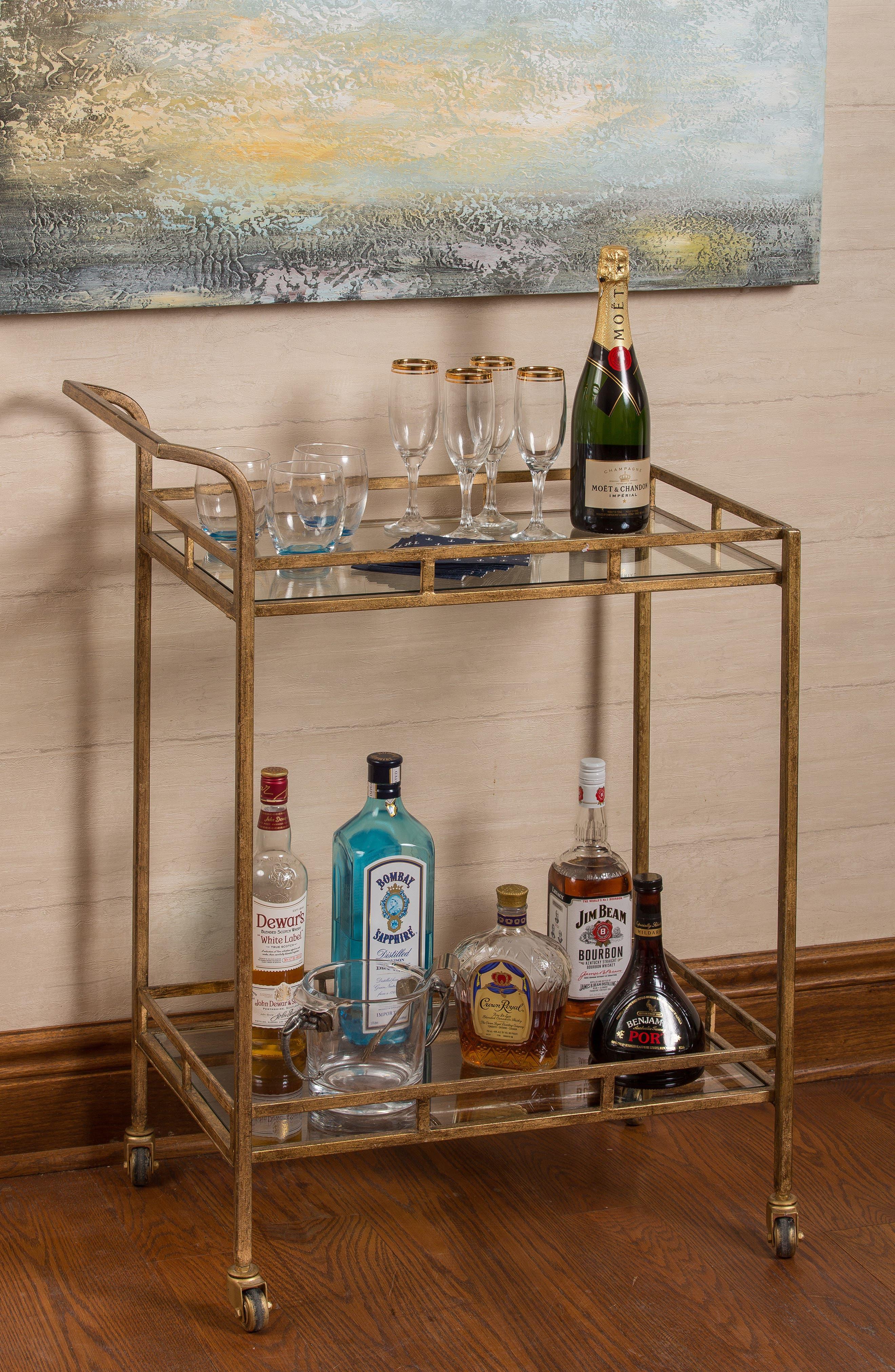 Bar Cart,                             Alternate thumbnail 3, color,                             METALLIC GOLD