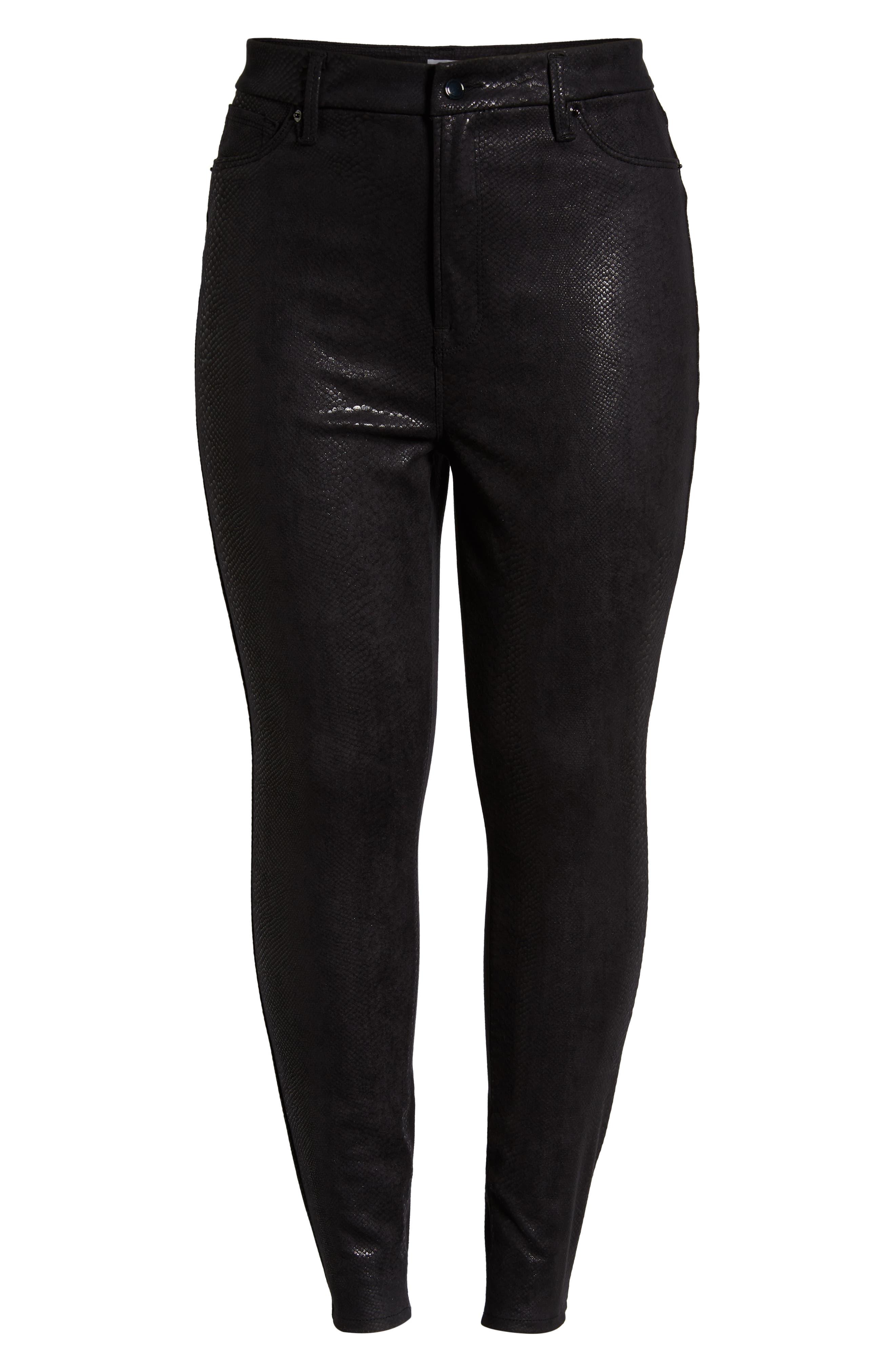 GOOD AMERICAN,                             Good Legs Metallic Snake Print Skinny Jeans,                             Alternate thumbnail 6, color,                             BLACK041