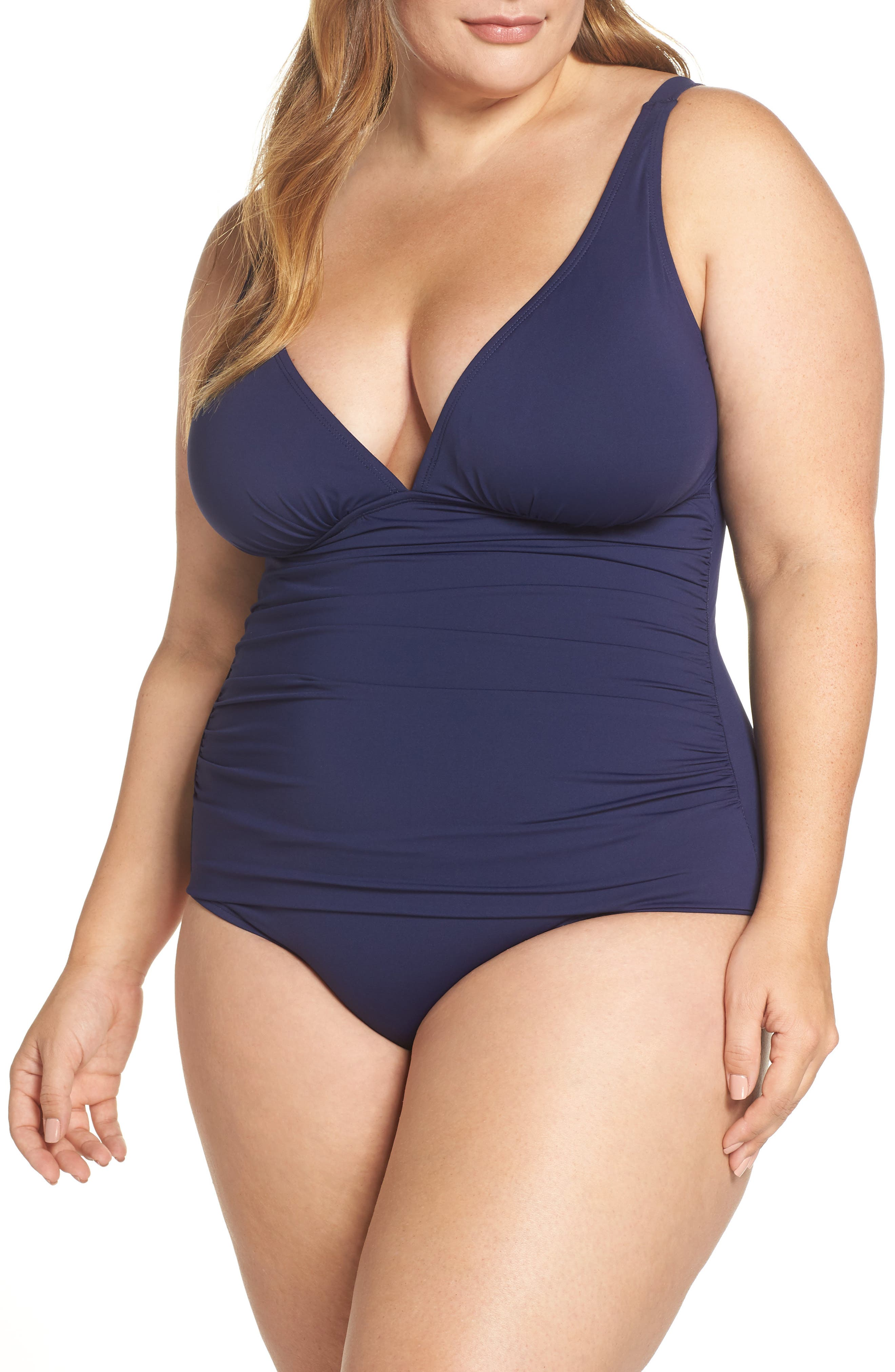 Pearl Solid Ruched One-Piece Swimsuit in Mare