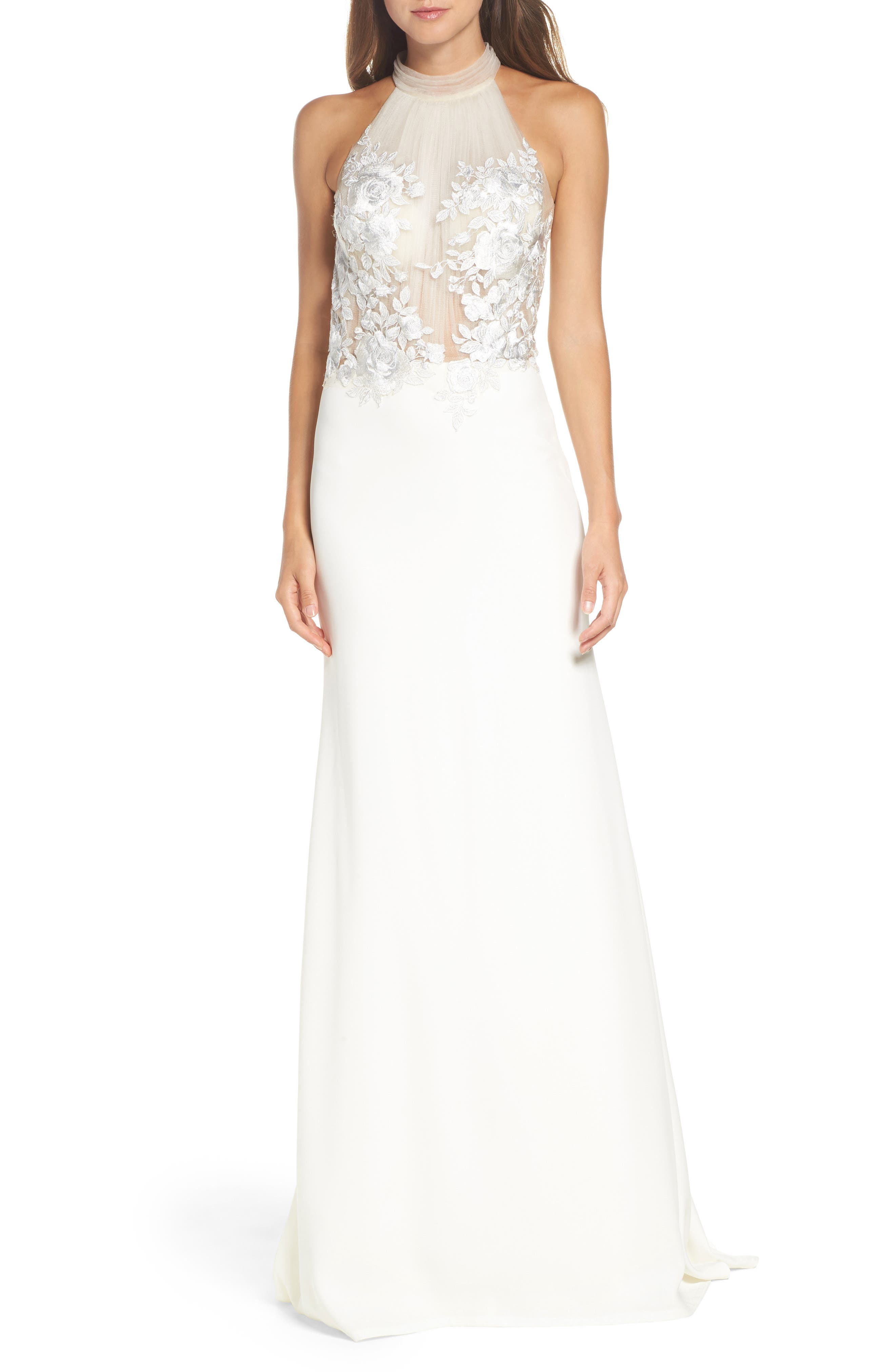 Embroidered Halter Trumpet Gown,                         Main,                         color, IVORY
