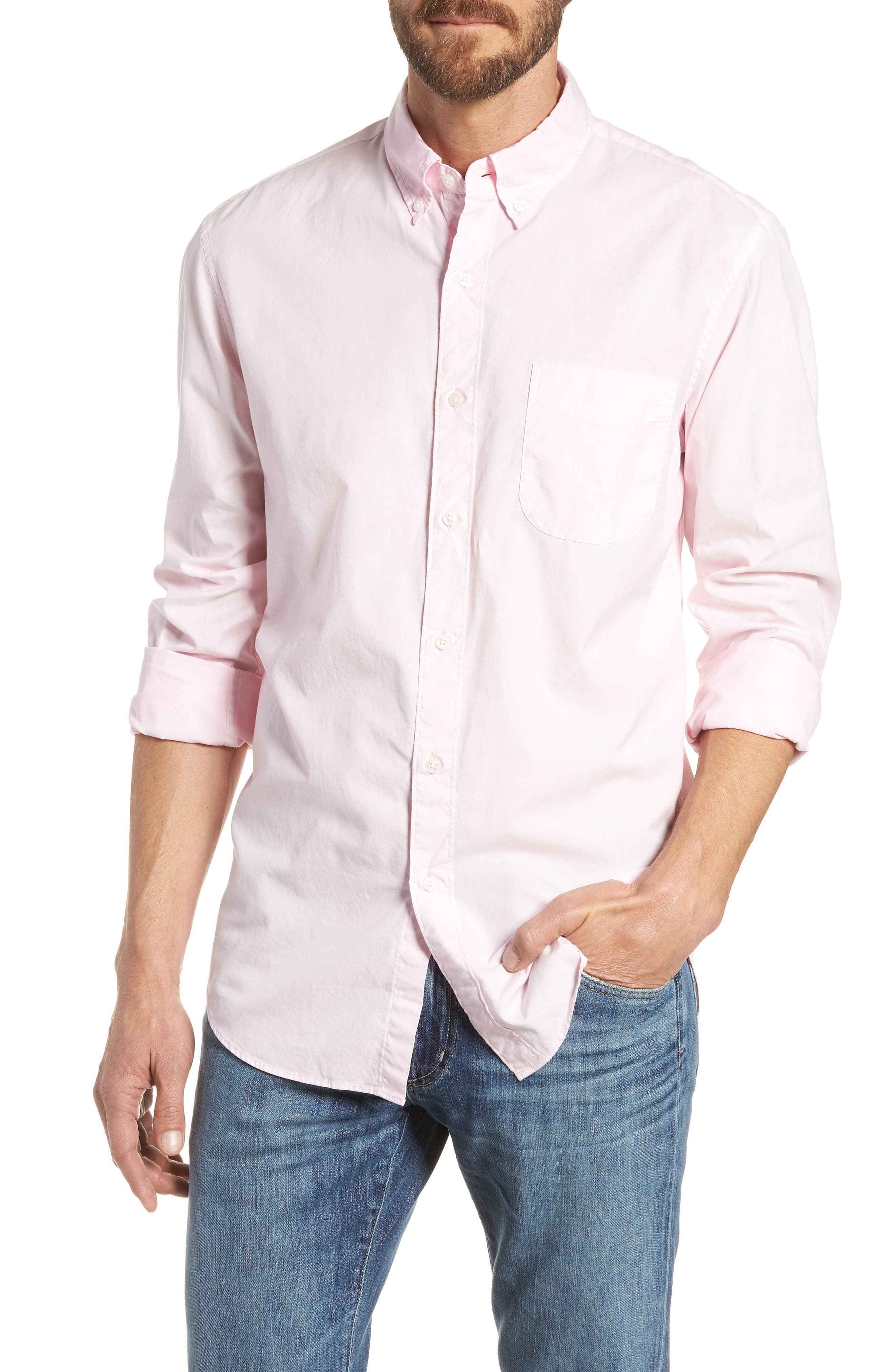 Slim Fit Stretch Secret Wash Garment Dyed Sport Shirt,                             Main thumbnail 3, color,