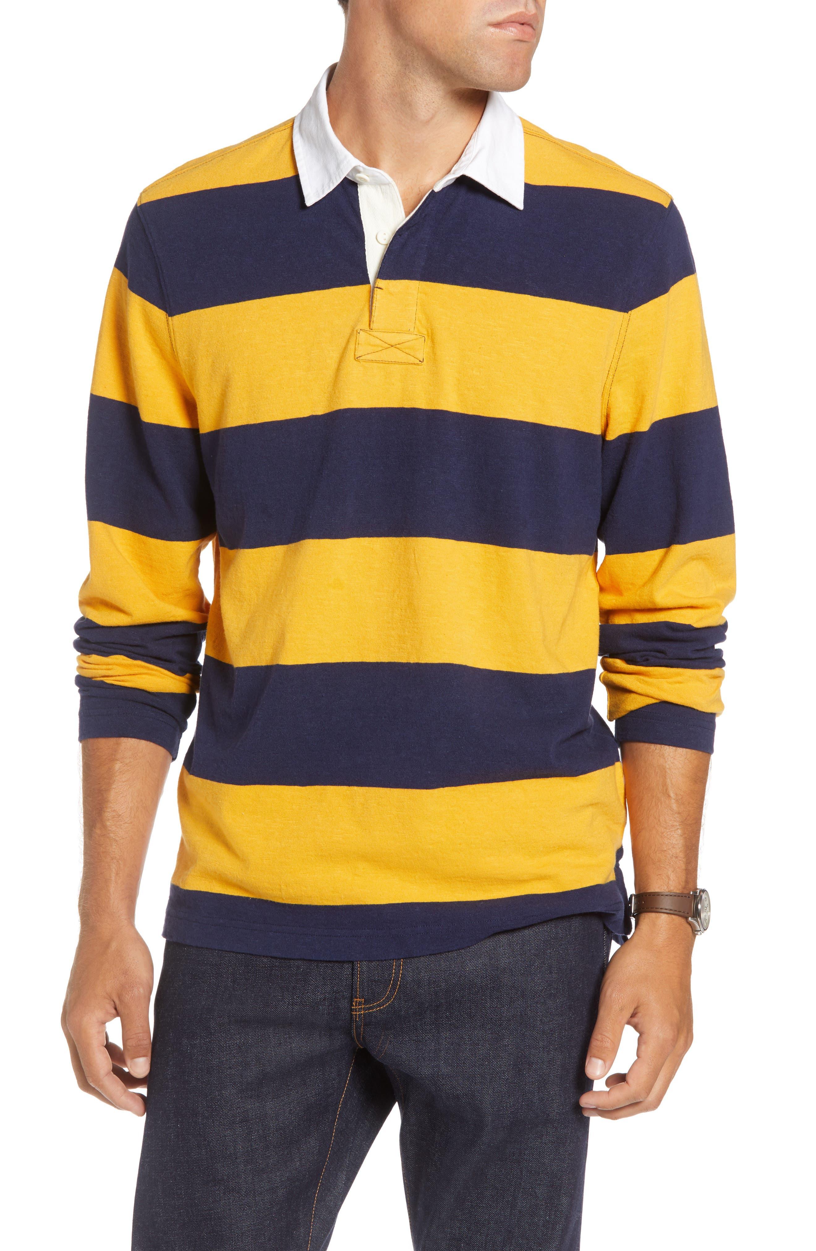 Slub Stripe Long Sleeve Rugby Polo,                         Main,                         color, NAVY IRIS GOLD