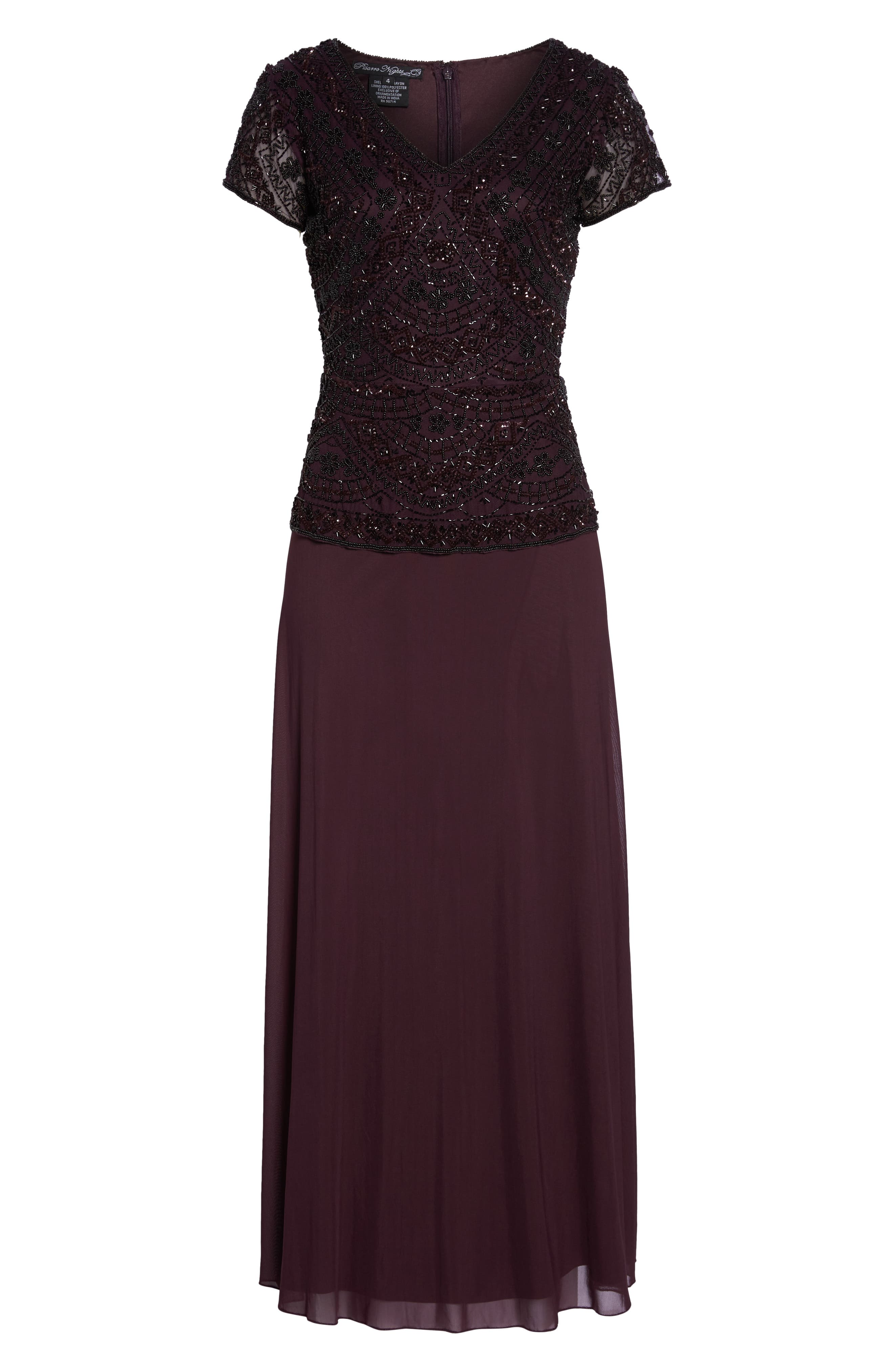 Beaded V-Neck Mock Two-Piece Gown,                             Alternate thumbnail 7, color,                             WINE