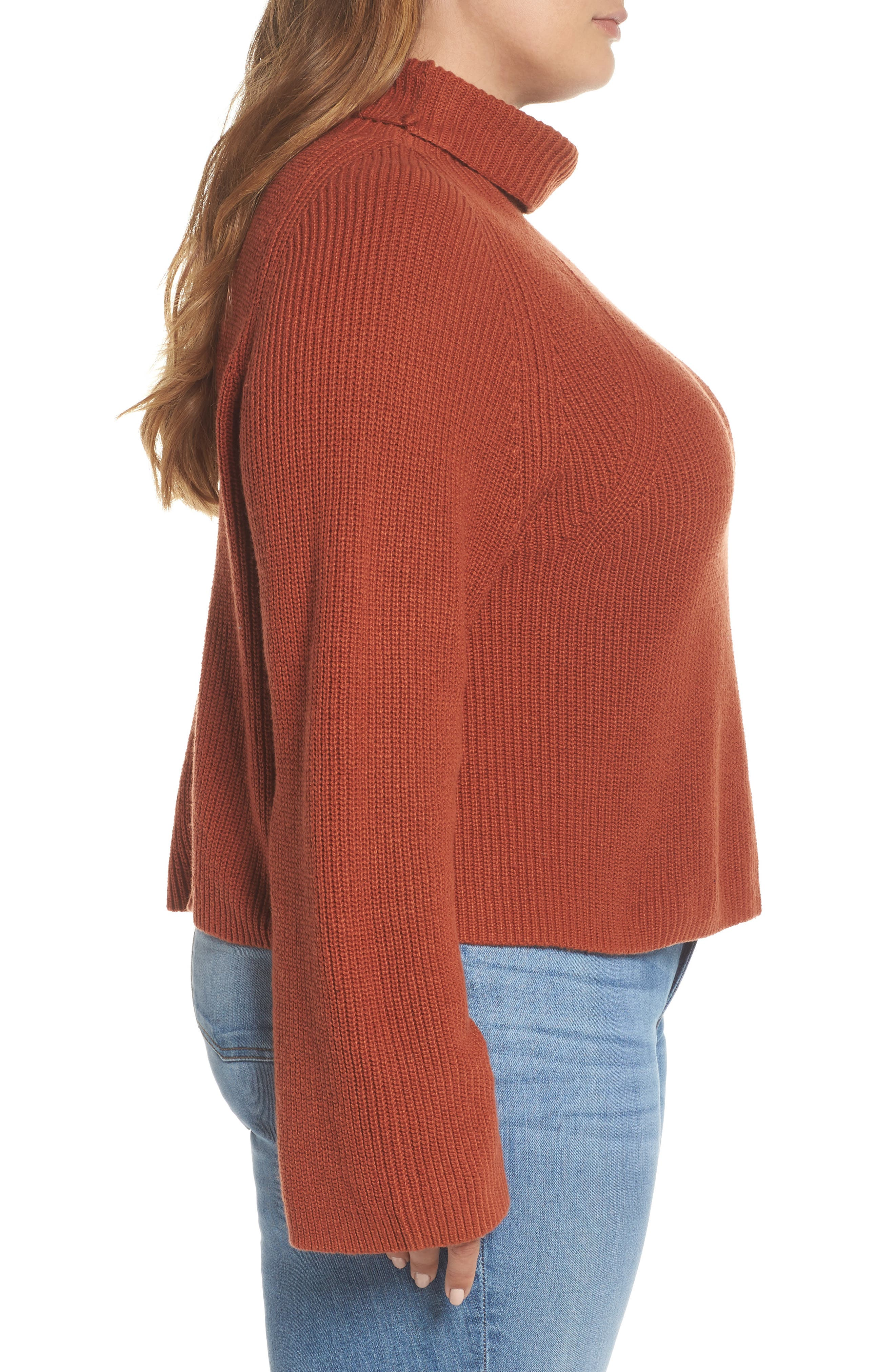 Transfer Stitch Turtleneck Sweater,                             Alternate thumbnail 9, color,                             BROWN SPICE