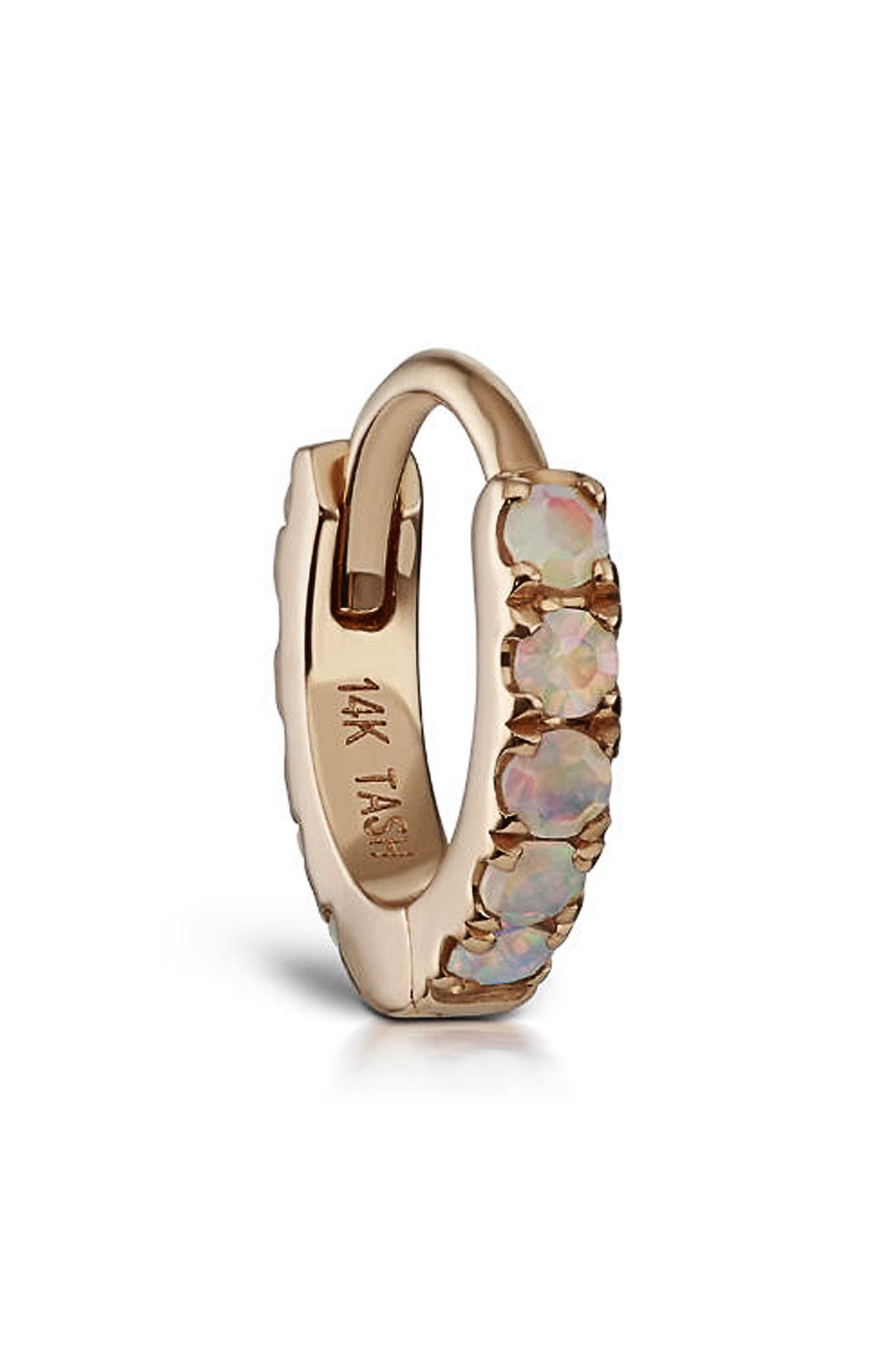 Opal Eternity Hoop Earring,                             Alternate thumbnail 3, color,                             ROSE