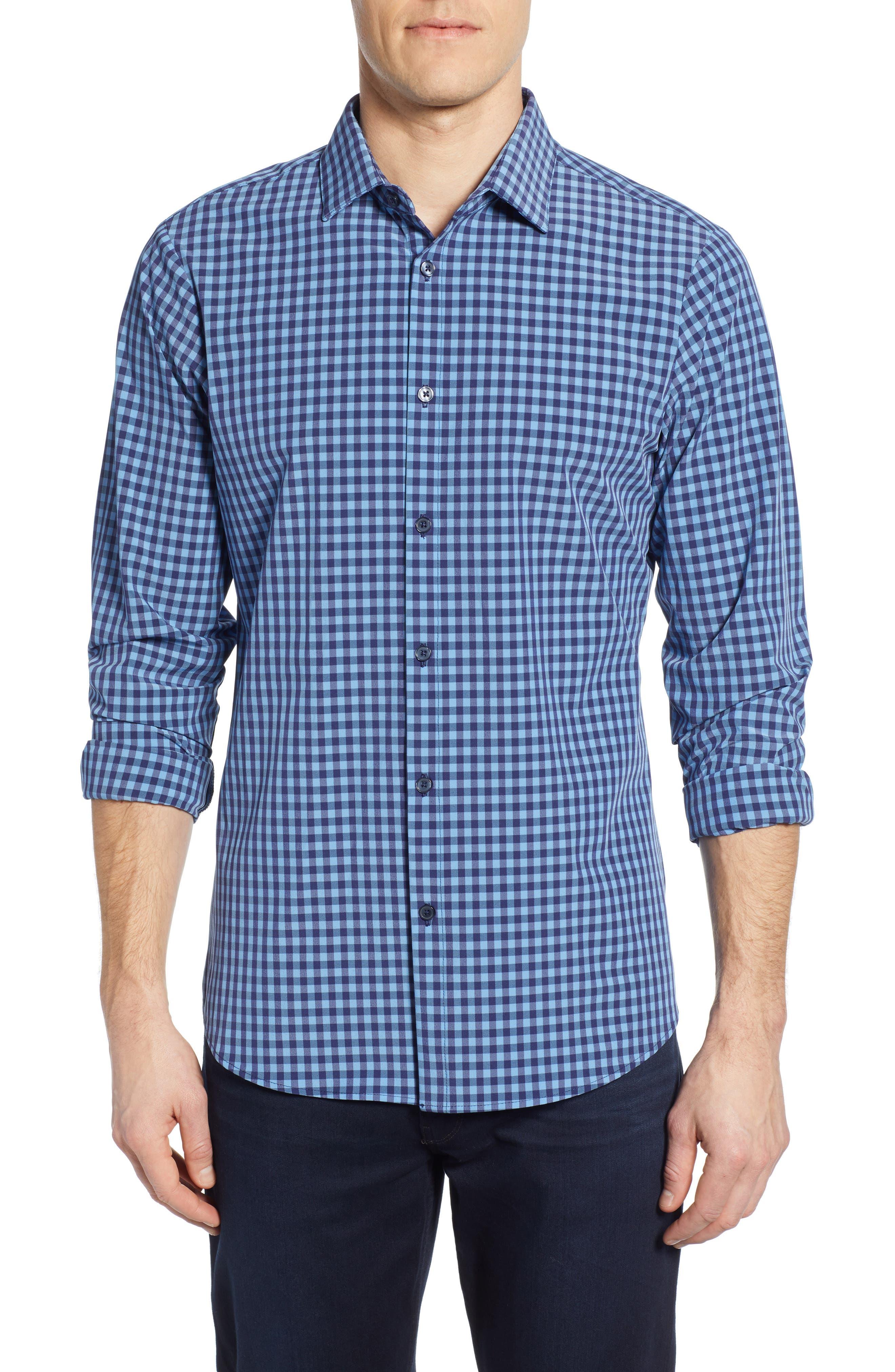 Whitten Regular Fit Check Performance Sport Shirt, Main, color, BLUE