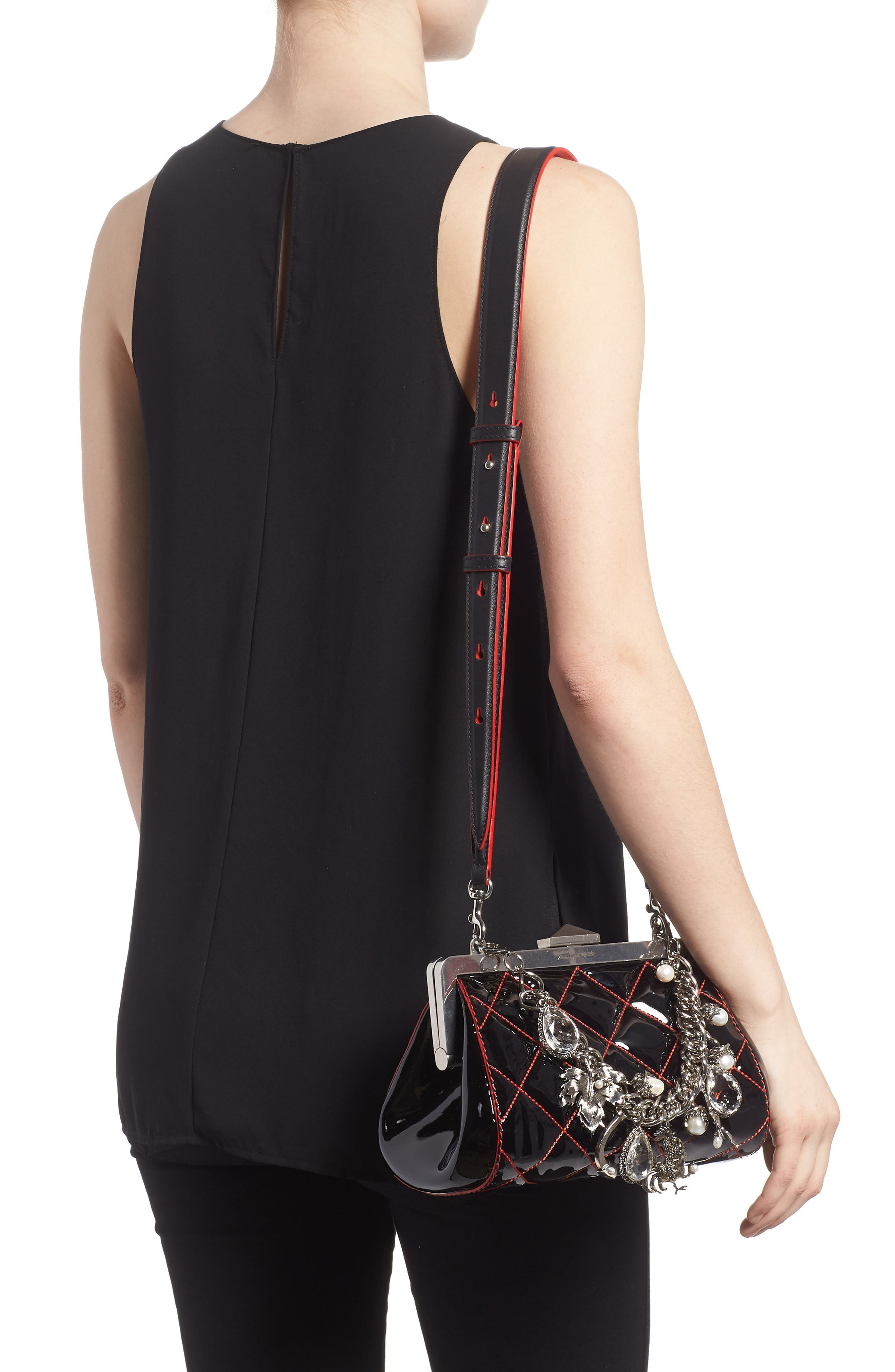 Quilted Patent Leather Frame Clutch,                             Alternate thumbnail 2, color,                             BLACK/ LUST RED