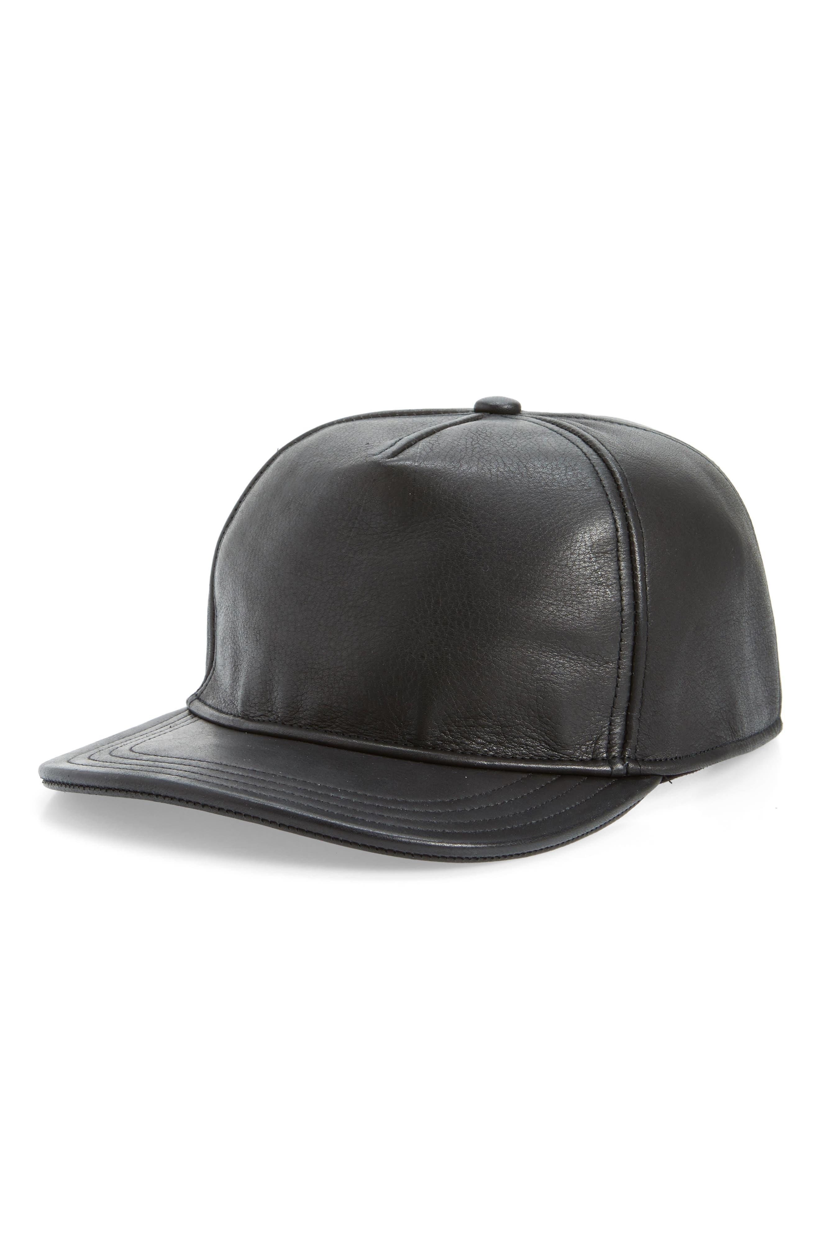 Corner Pocket Leather Baseball Cap,                         Main,                         color, BLACK