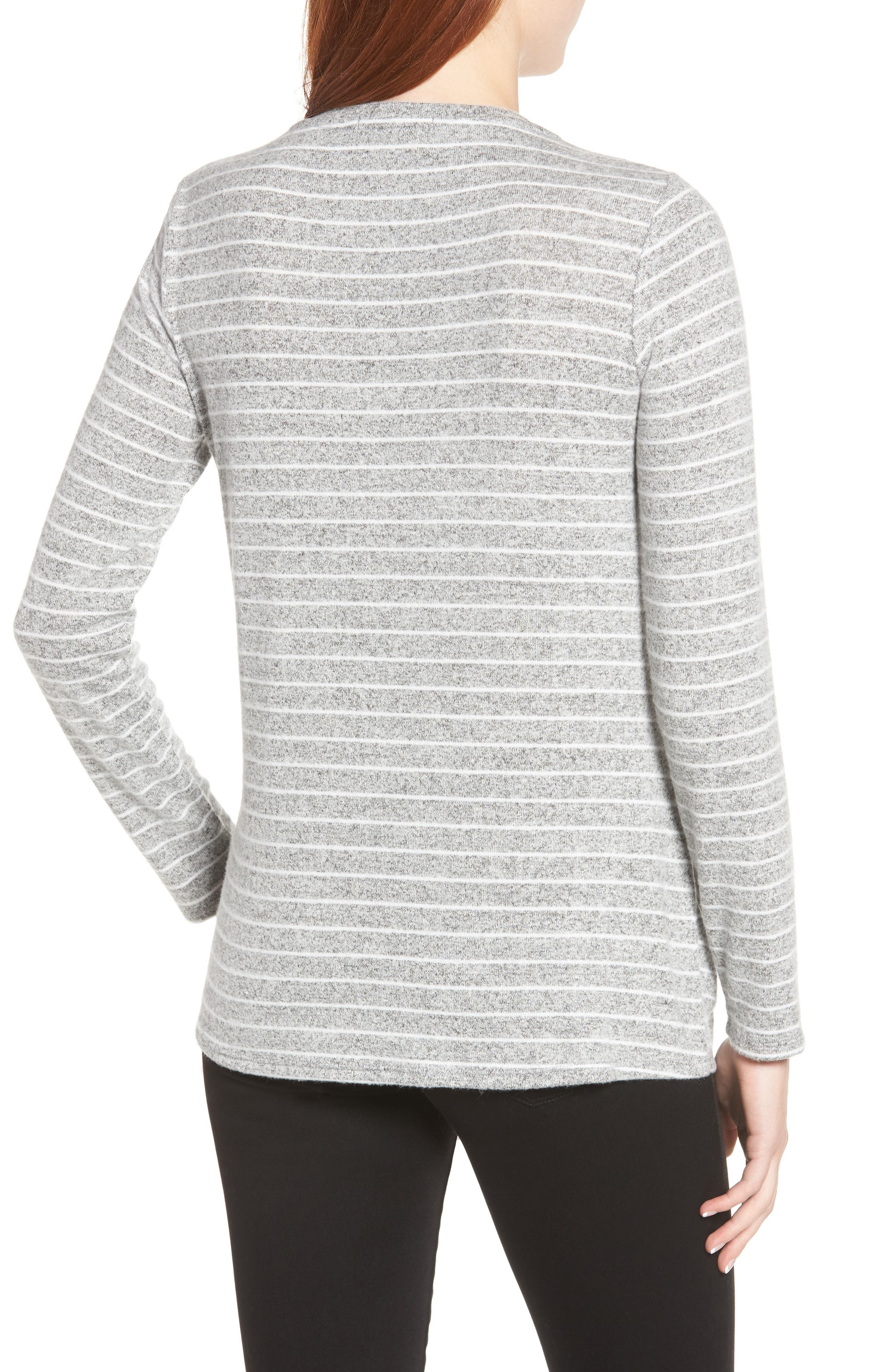 x Living in Yellow Lou Tie Front Fleece Sweater,                             Alternate thumbnail 2, color,                             GREY/ IVORY
