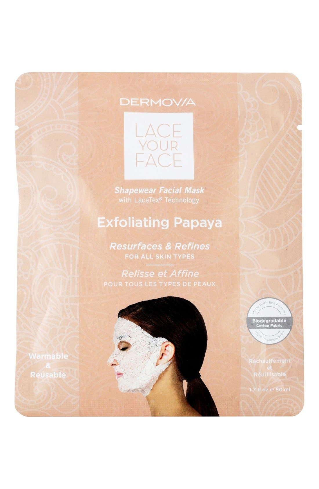 DERMOVIA,                             Lace Your Face Exfoliating Papaya Compression Facial Mask,                             Main thumbnail 1, color,                             000