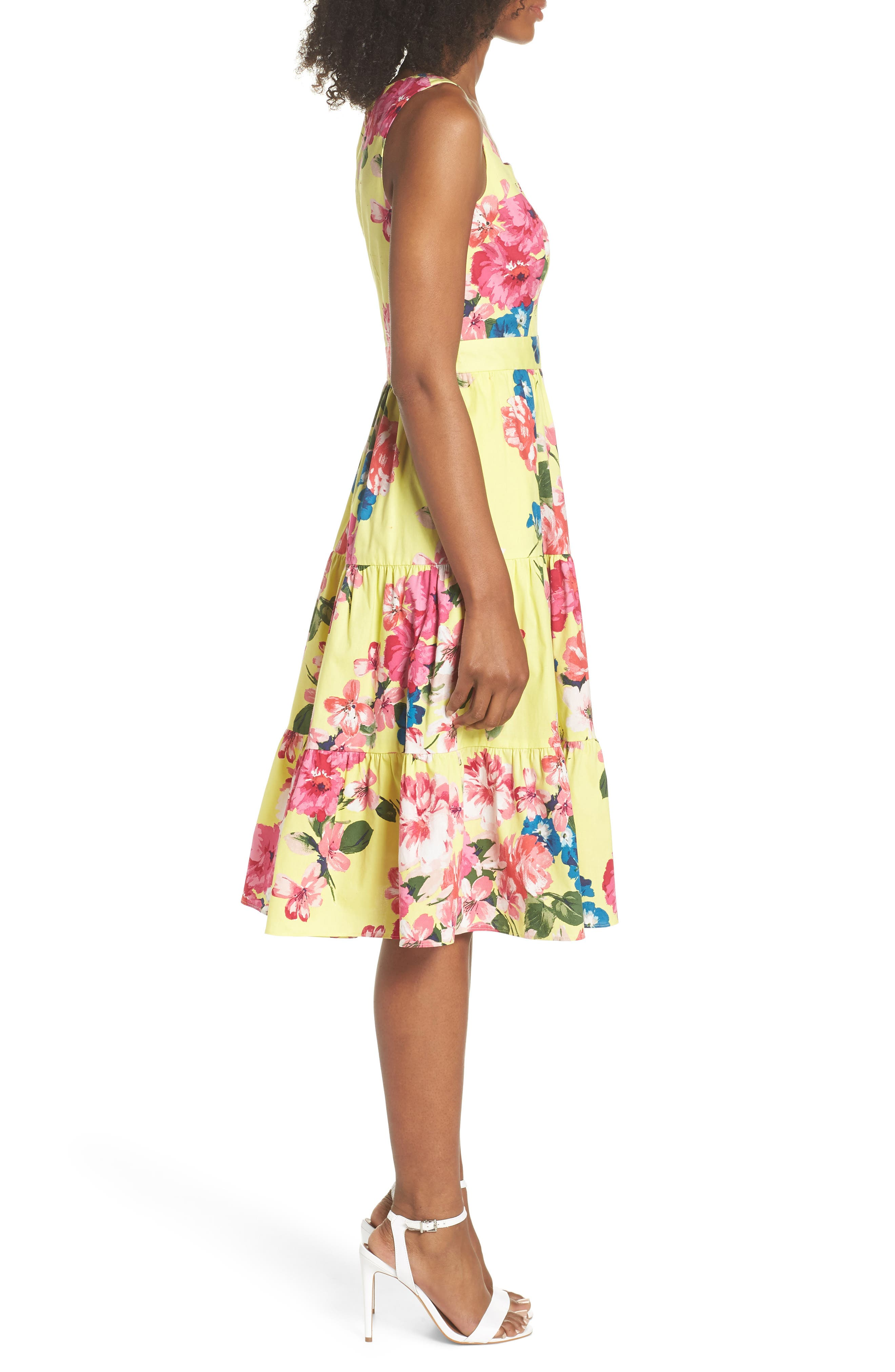 Square Neck Floral Tiered Fit & Flare Midi Dress,                             Alternate thumbnail 3, color,                             720