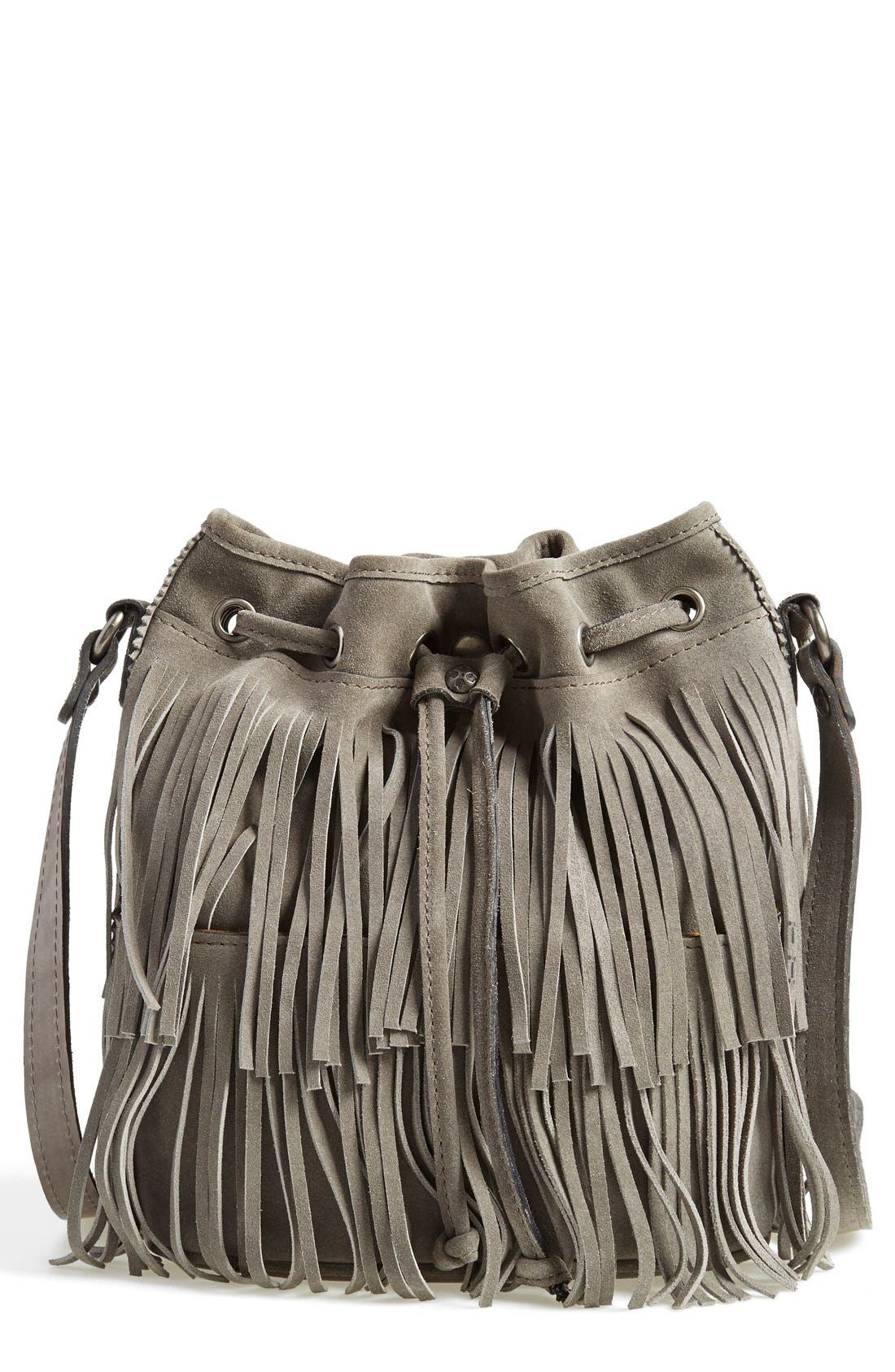 'Bronte' Fringe Bucket Bag,                             Alternate thumbnail 4, color,                             020