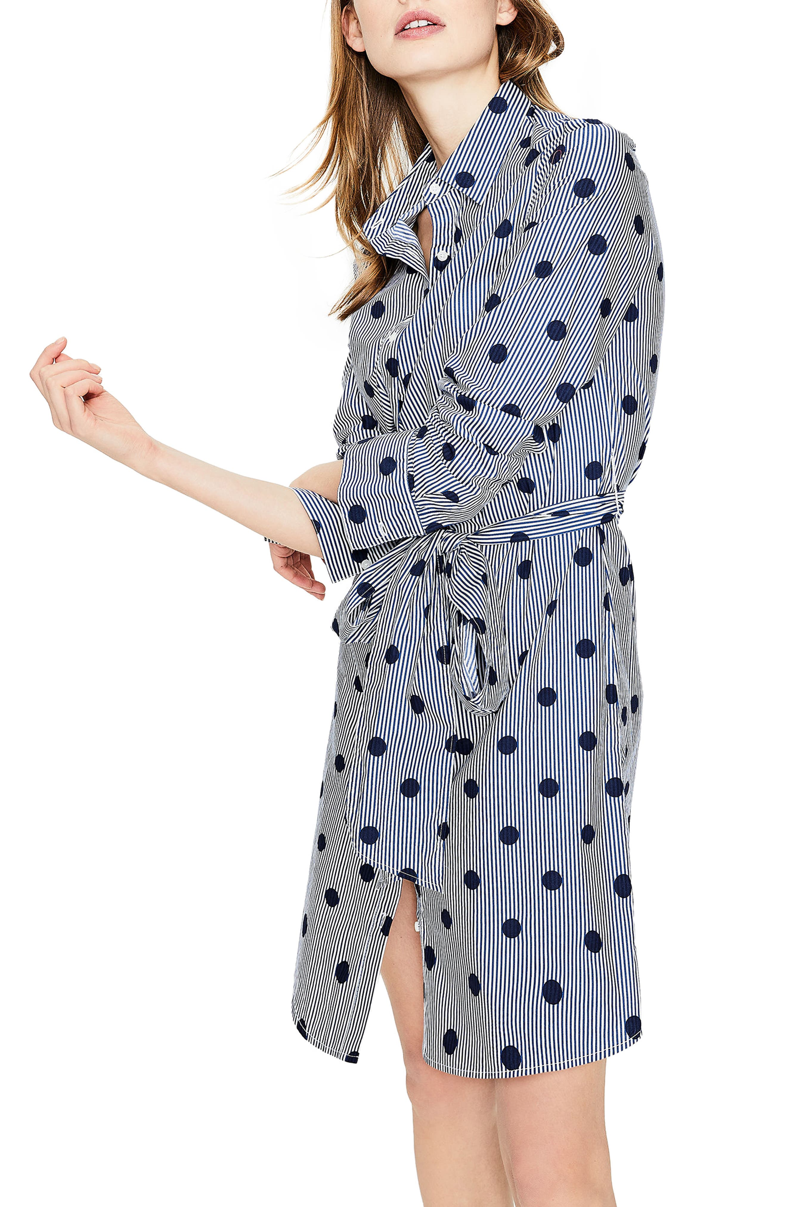 Trend Stripe Dot Cotton Shirtdress,                             Alternate thumbnail 3, color,                             414