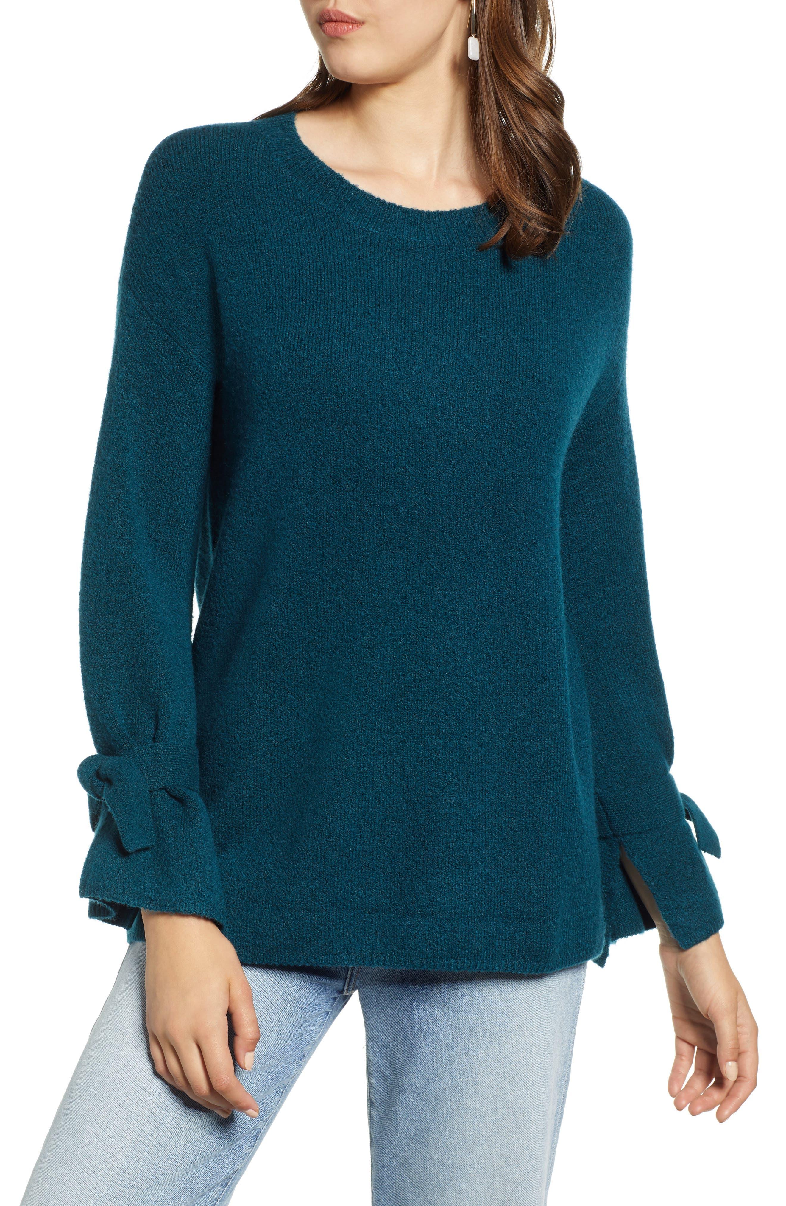 Halogen Tie Sleeve Wool Blend Sweater, Blue/green