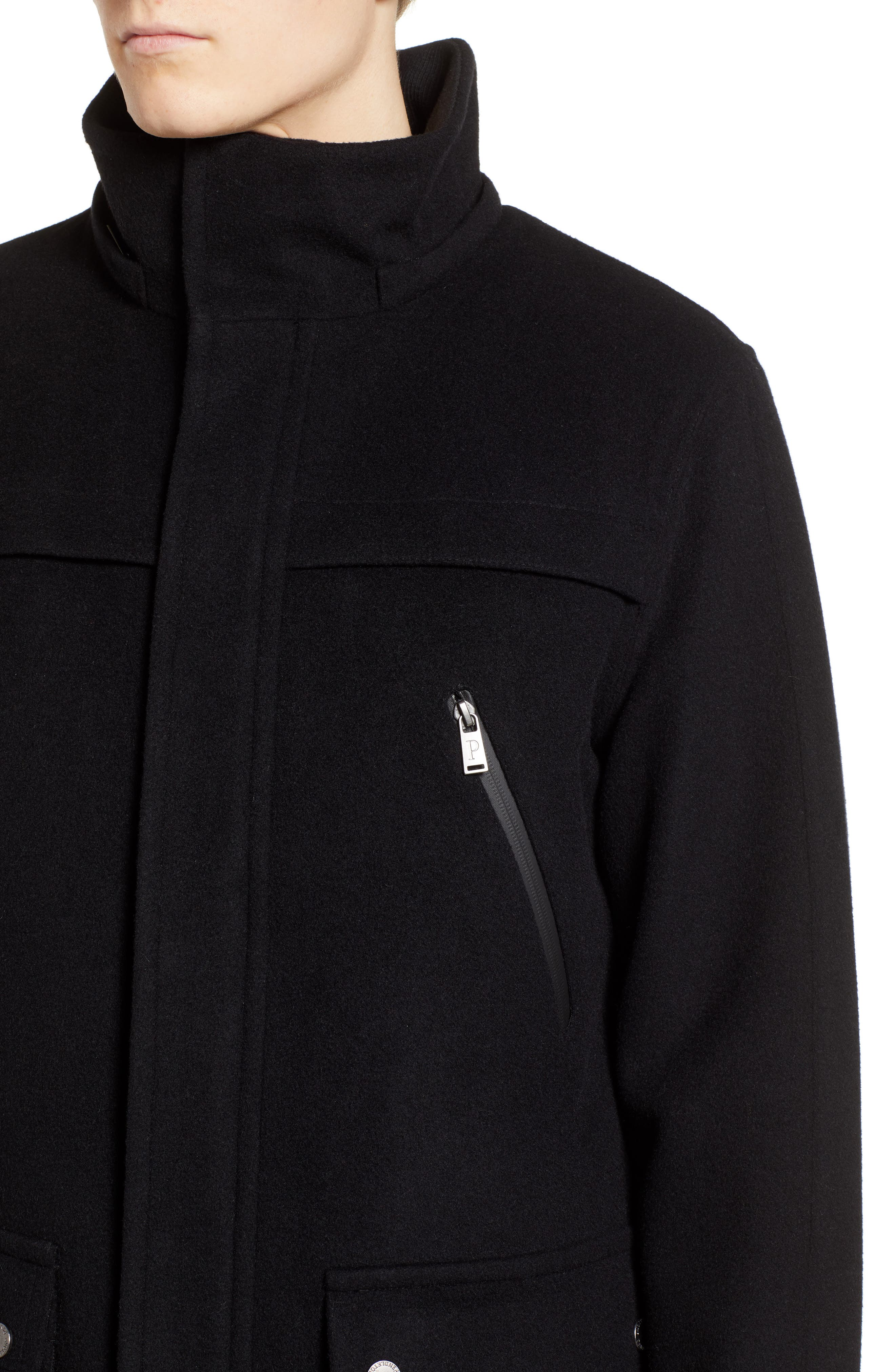 Bainbridge Water Repellent Wool Blend Metro Coat,                             Alternate thumbnail 4, color,                             BLACK