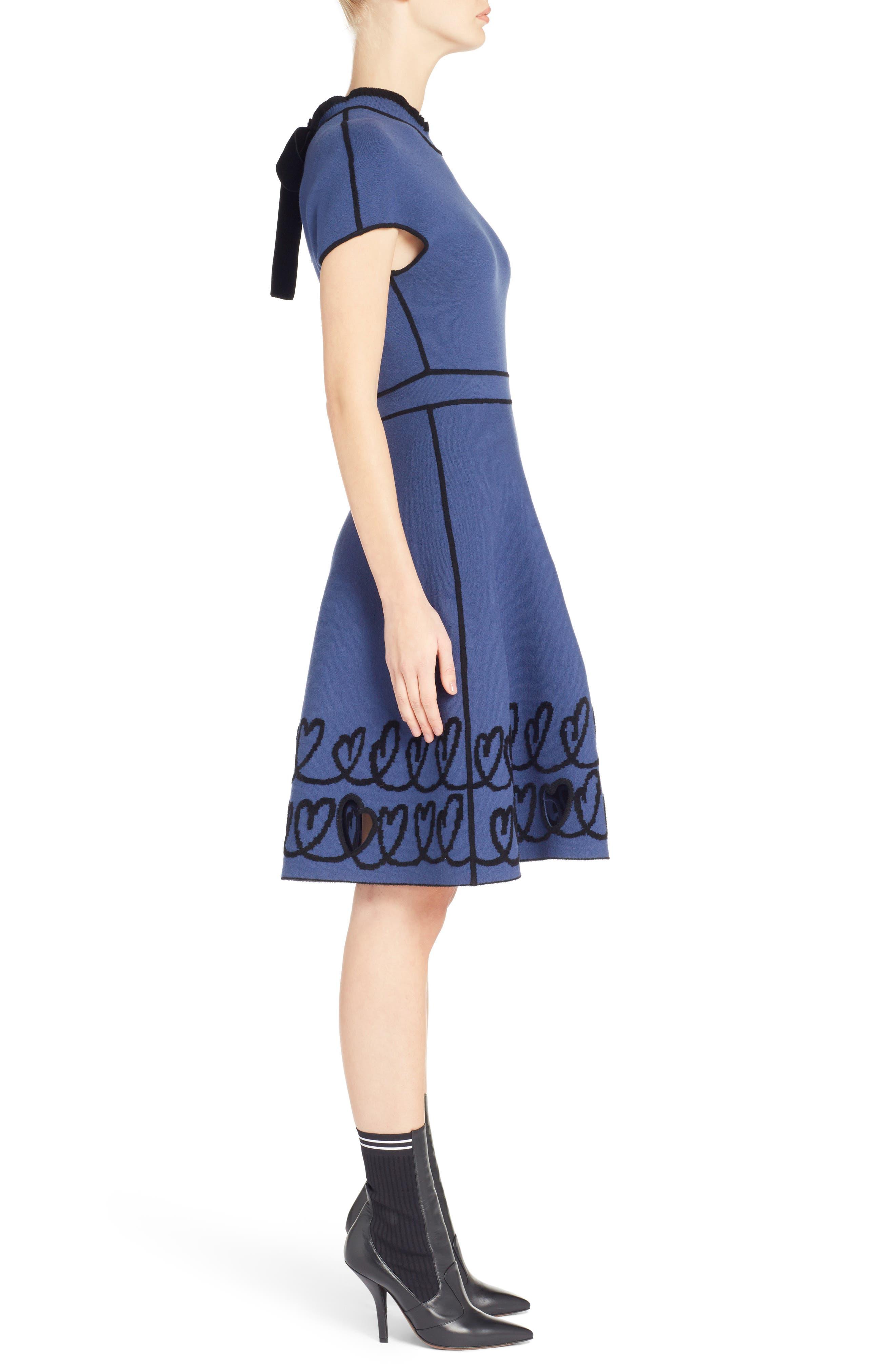 Cutout Heart Reversible Fit & Flare Dress,                             Alternate thumbnail 3, color,                             BLUE