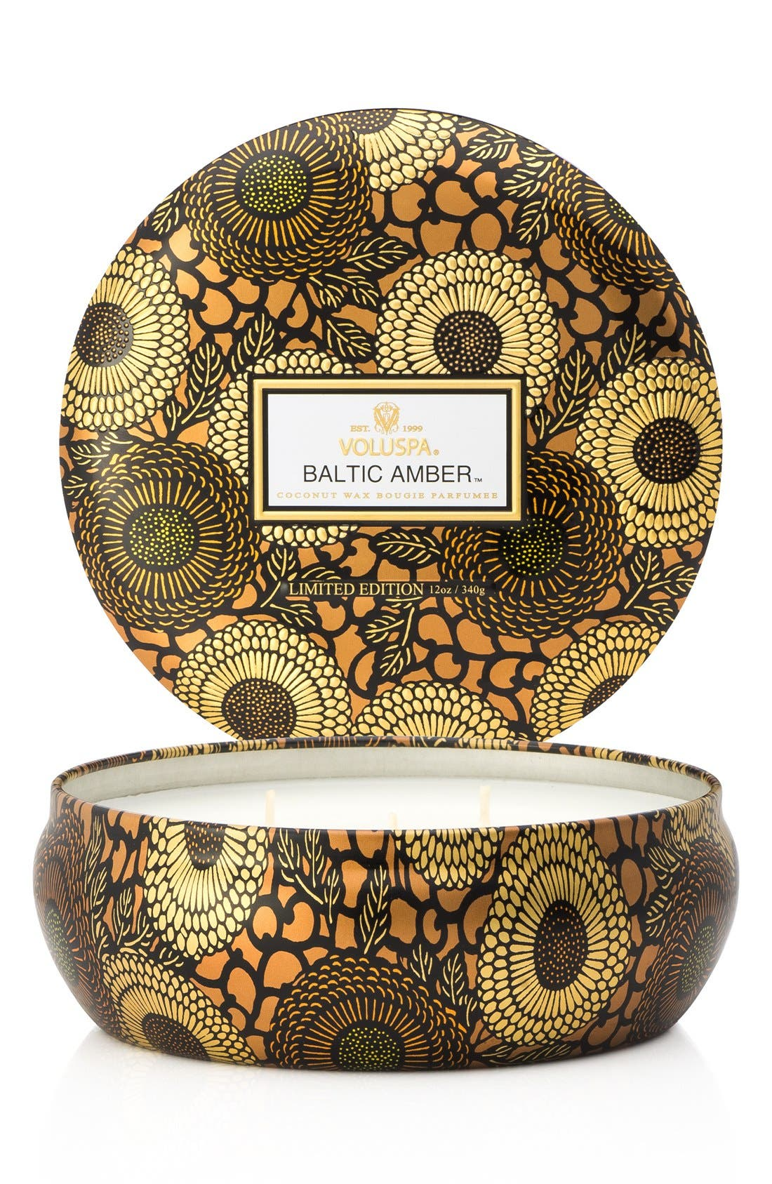 Japonica Baltic Amber Three-Wick Decorative Tin Candle,                         Main,                         color, NO COLOR