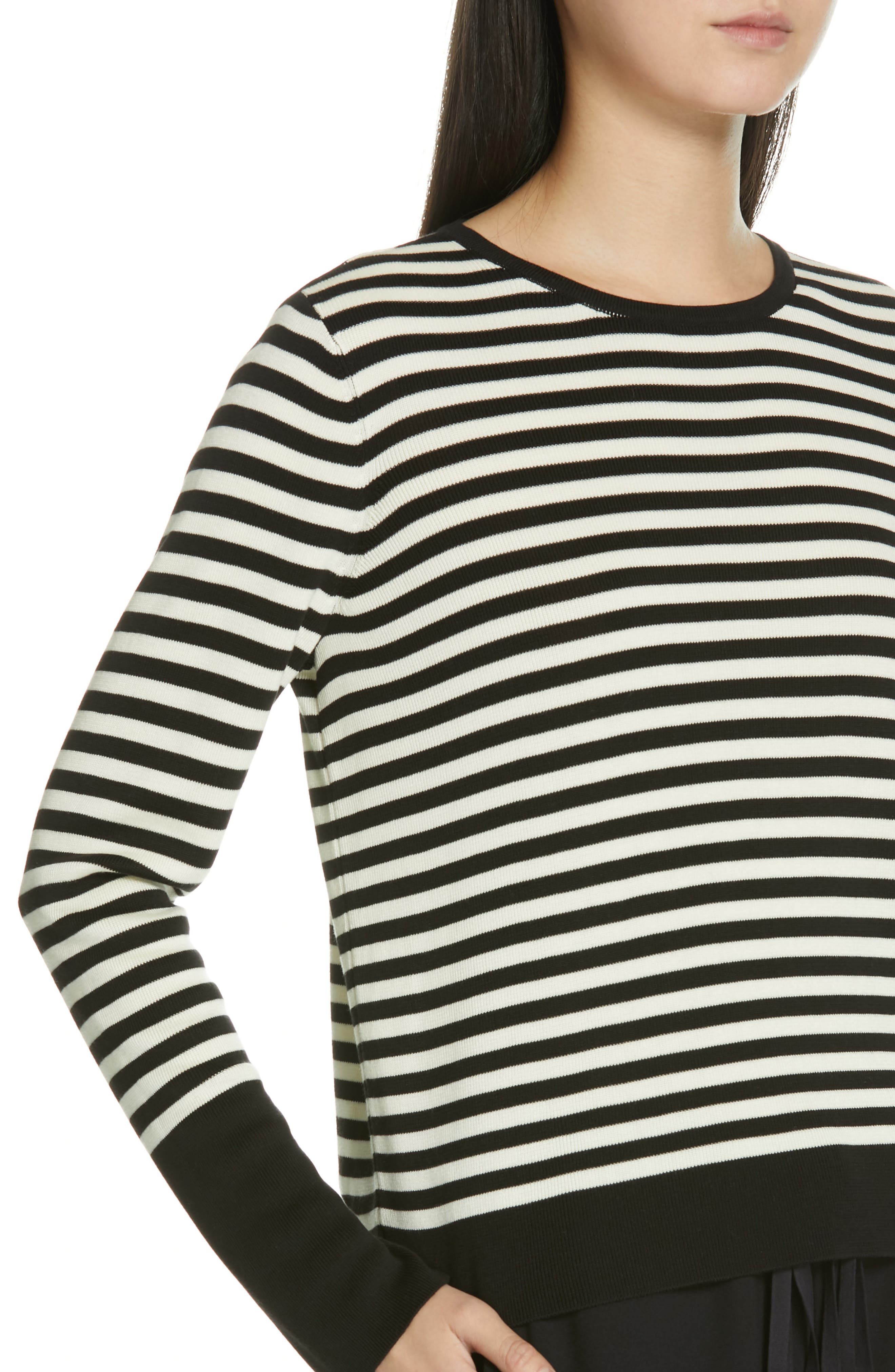 Tencel<sup>®</sup> Lyocell & Silk Sweater,                             Alternate thumbnail 4, color,                             BLACK/ SOFT WHITE