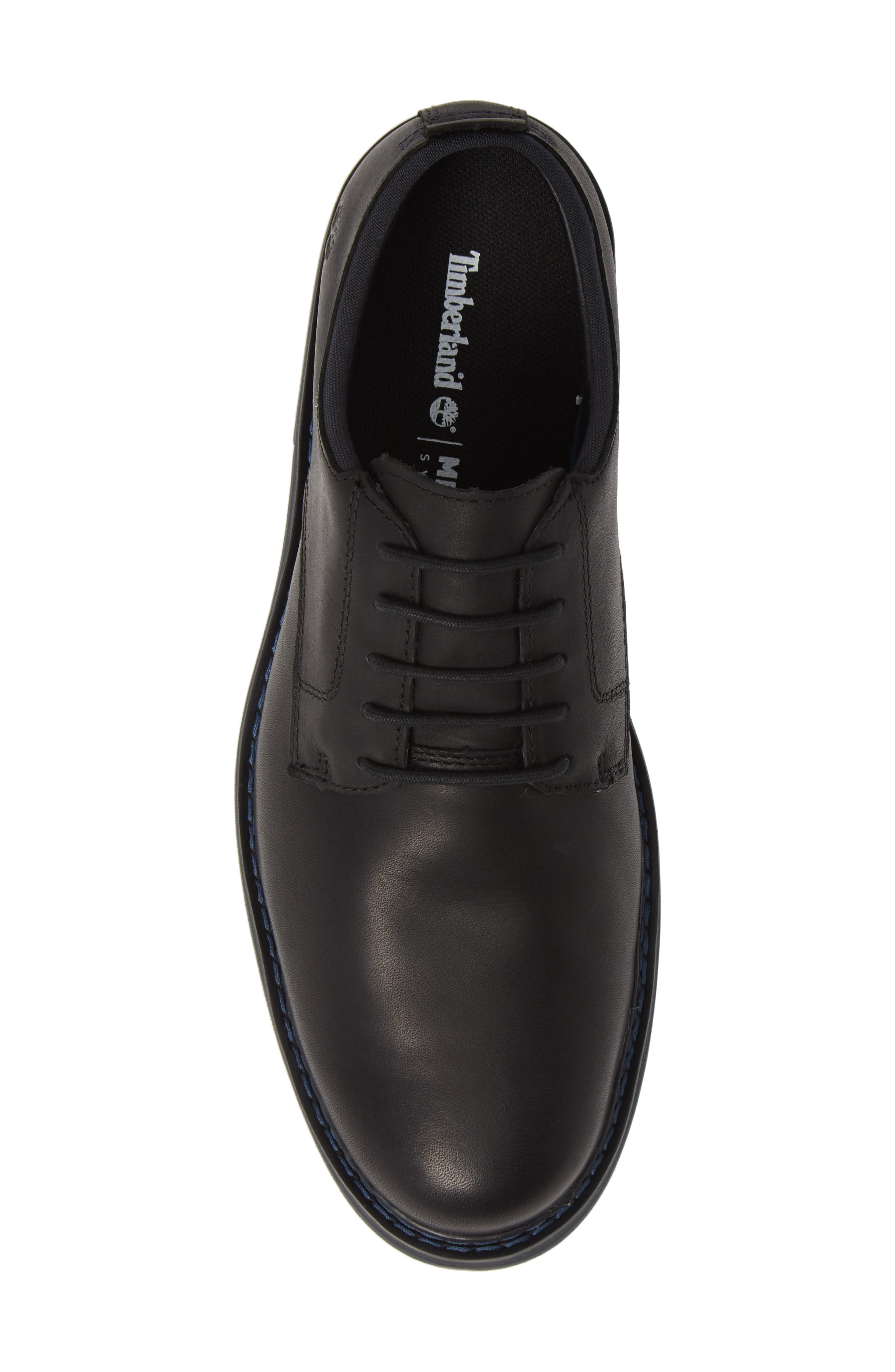 Squall Canyon Waterproof Plain Toe Derby,                             Alternate thumbnail 5, color,                             BLACK LEATHER