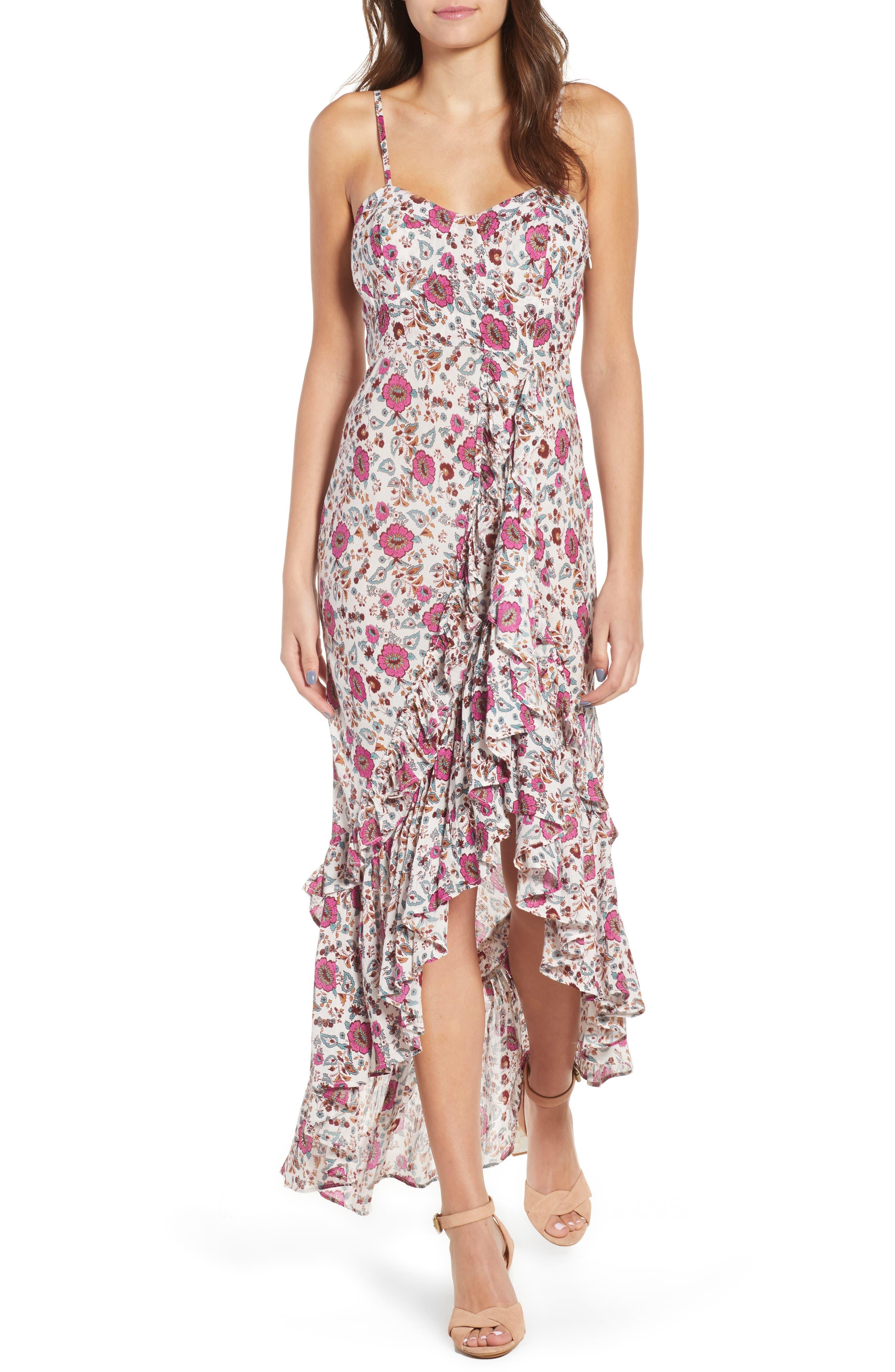 Summer Bloom Ruffle Hem High/Low Dress,                         Main,                         color, PINK