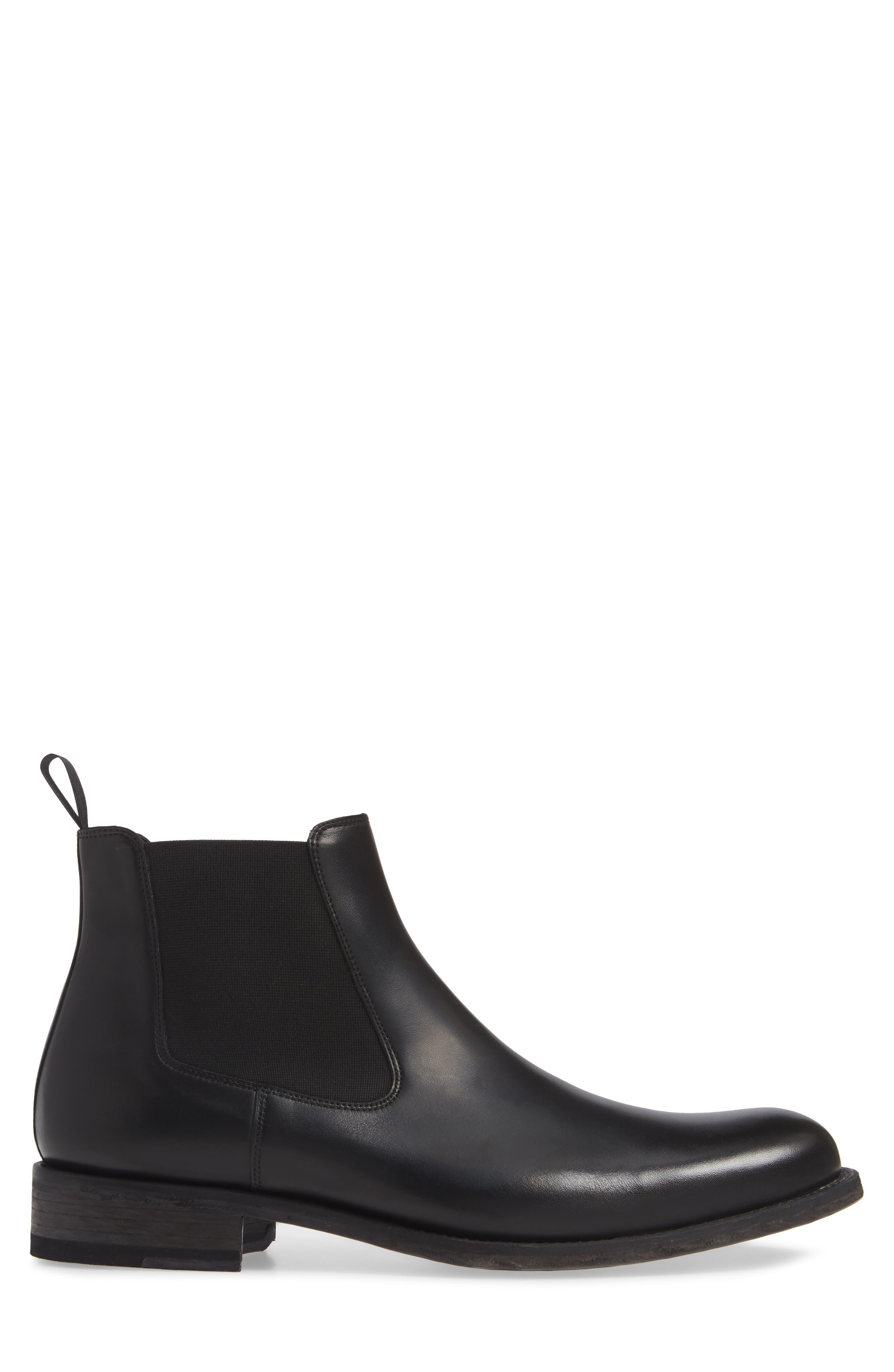 Saburo Water Resistant Chelsea Boot,                             Alternate thumbnail 3, color,                             BLACK LEATHER