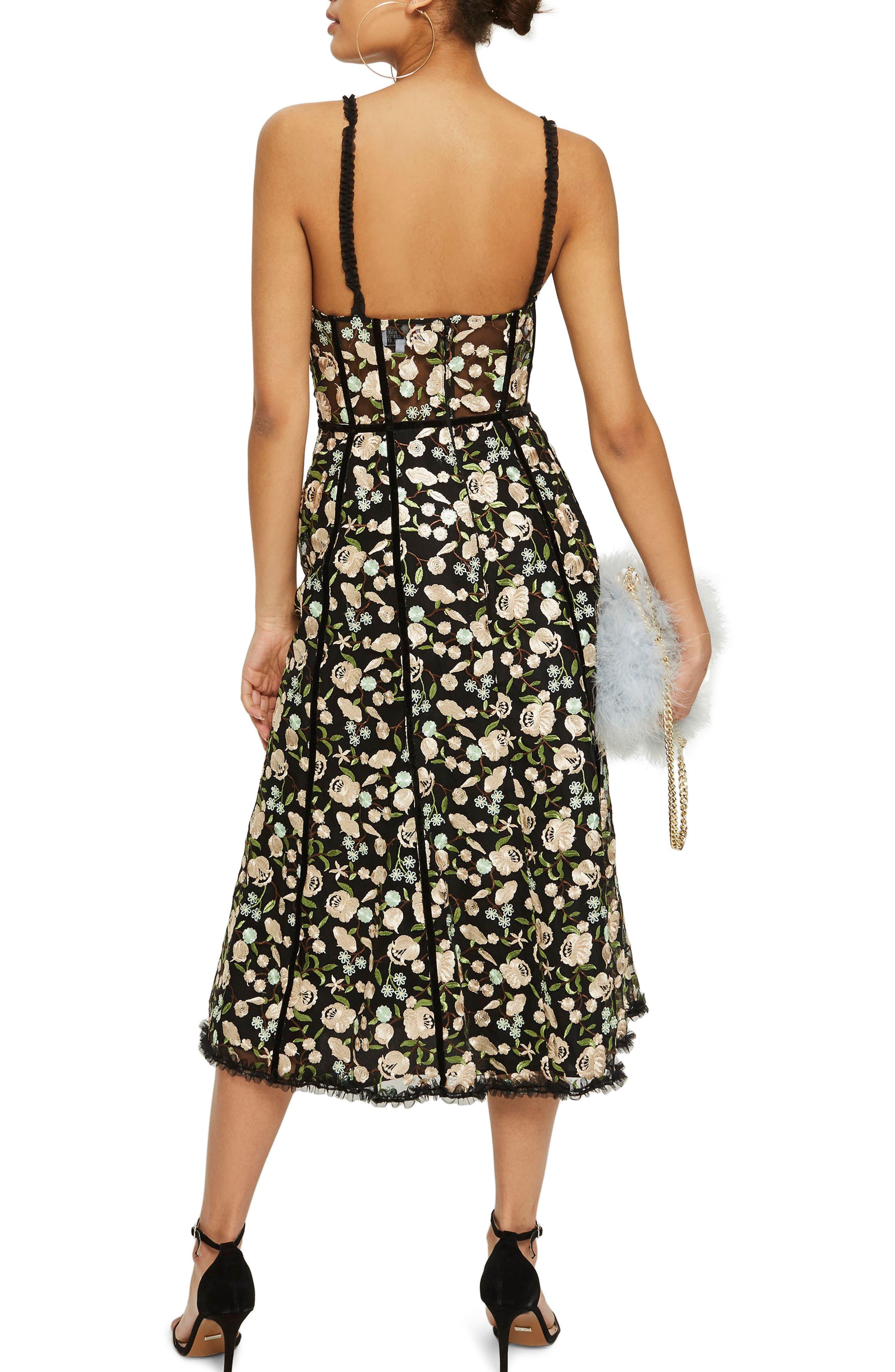 Floral Corset Midi Dress,                             Alternate thumbnail 2, color,