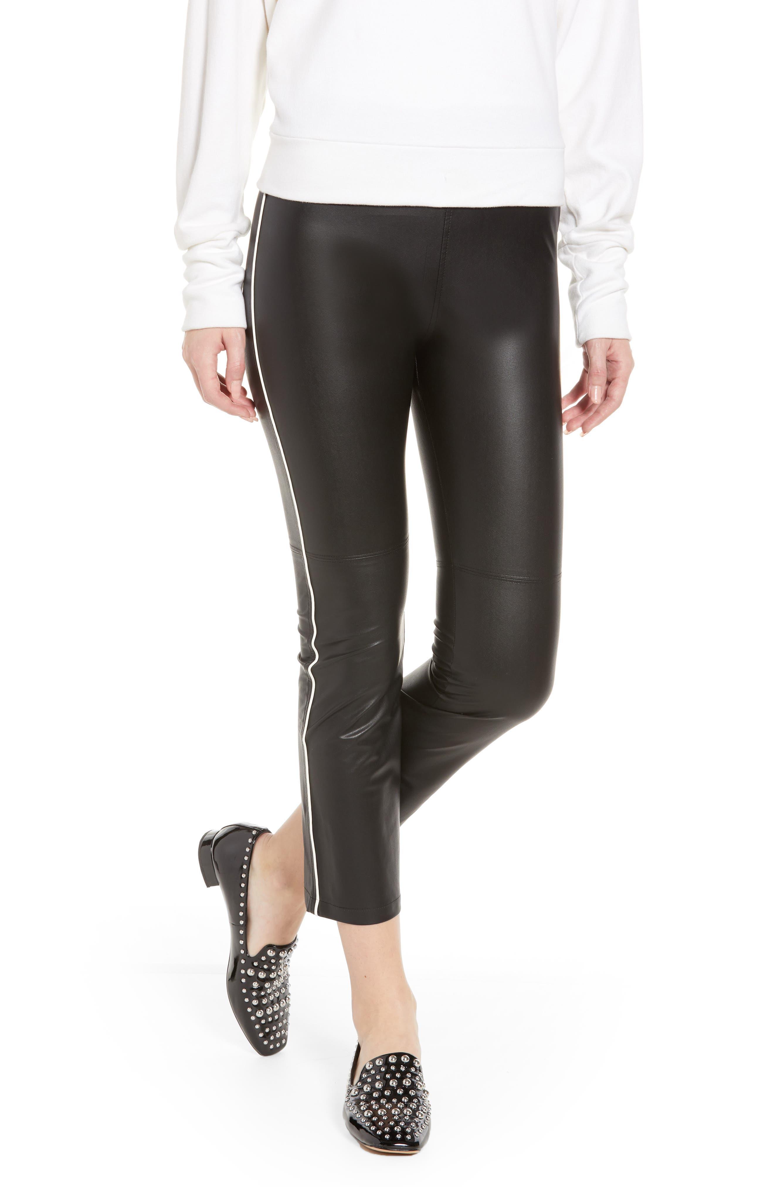 Gemma Faux Leather Skimmer Pants,                             Main thumbnail 1, color,                             BLACK