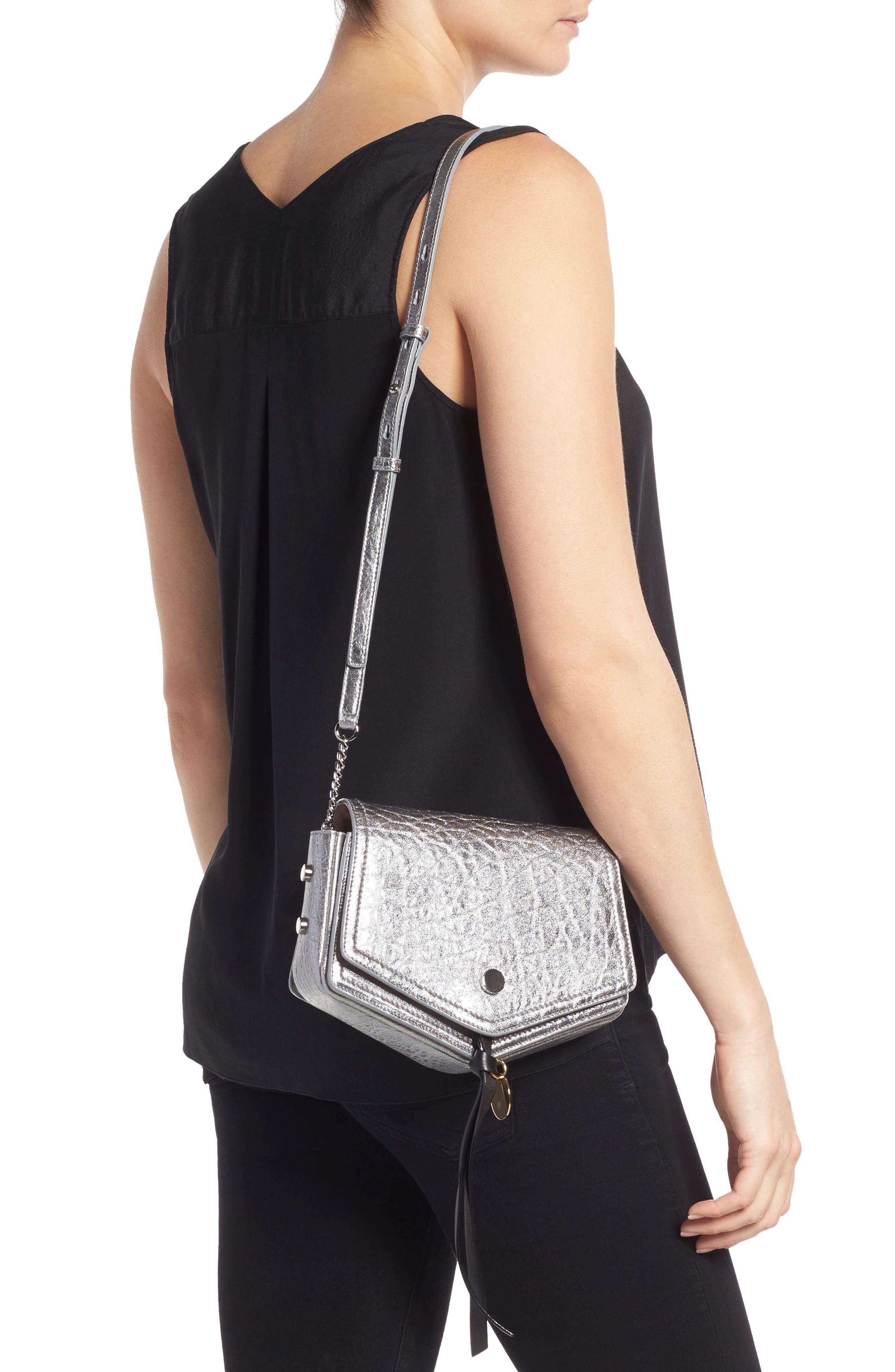 Arrow Metallic Grained Leather Shoulder Bag,                             Alternate thumbnail 2, color,                             045
