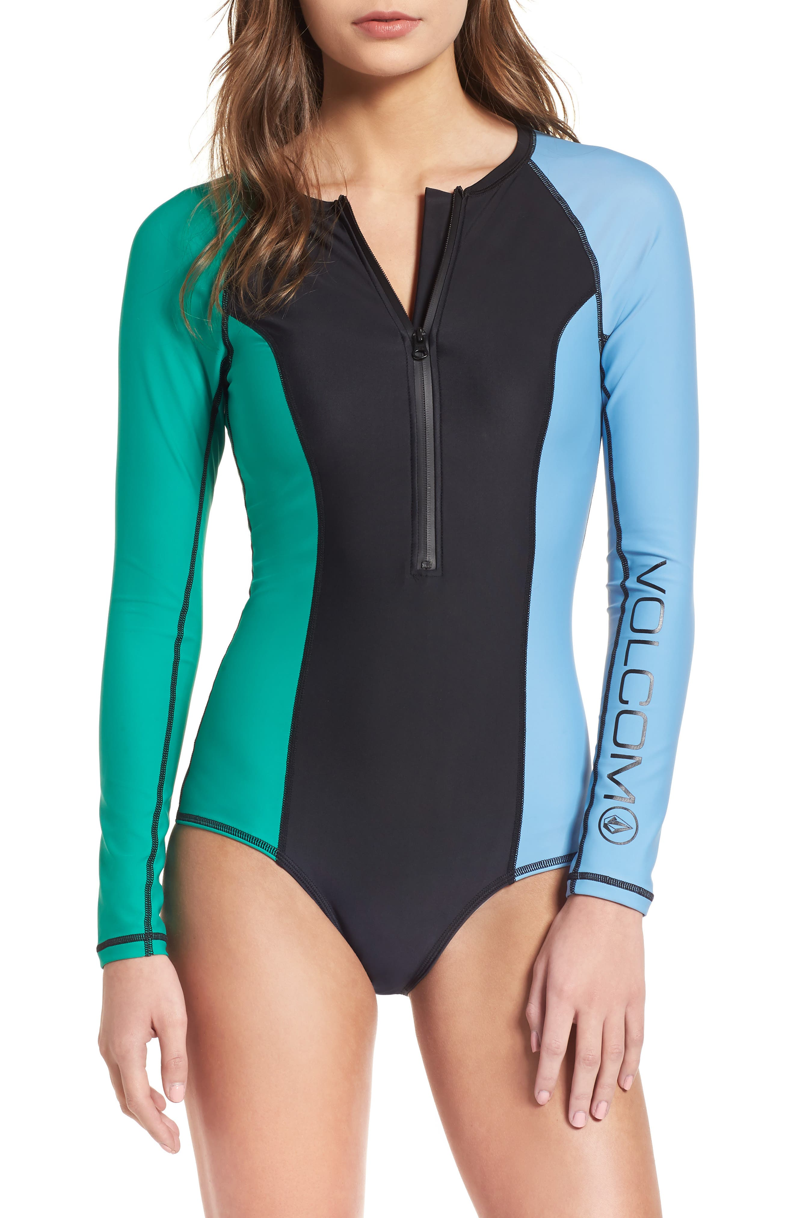 Simply Solid Long Sleeve One-Piece Swimsuit,                             Main thumbnail 1, color,                             307