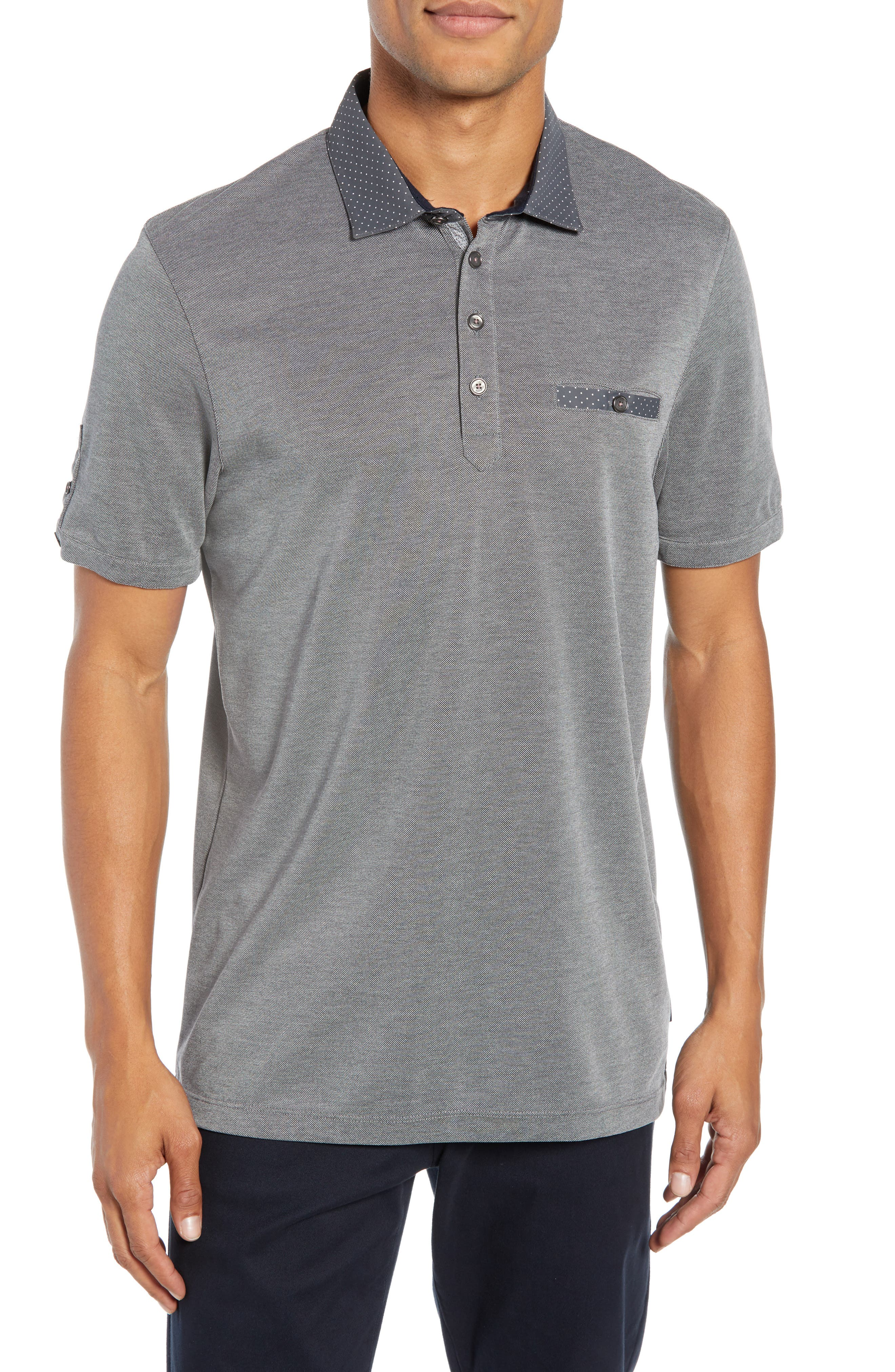 TED BAKER Marsh Polynosic Regular Fit Polo Shirt in Grey