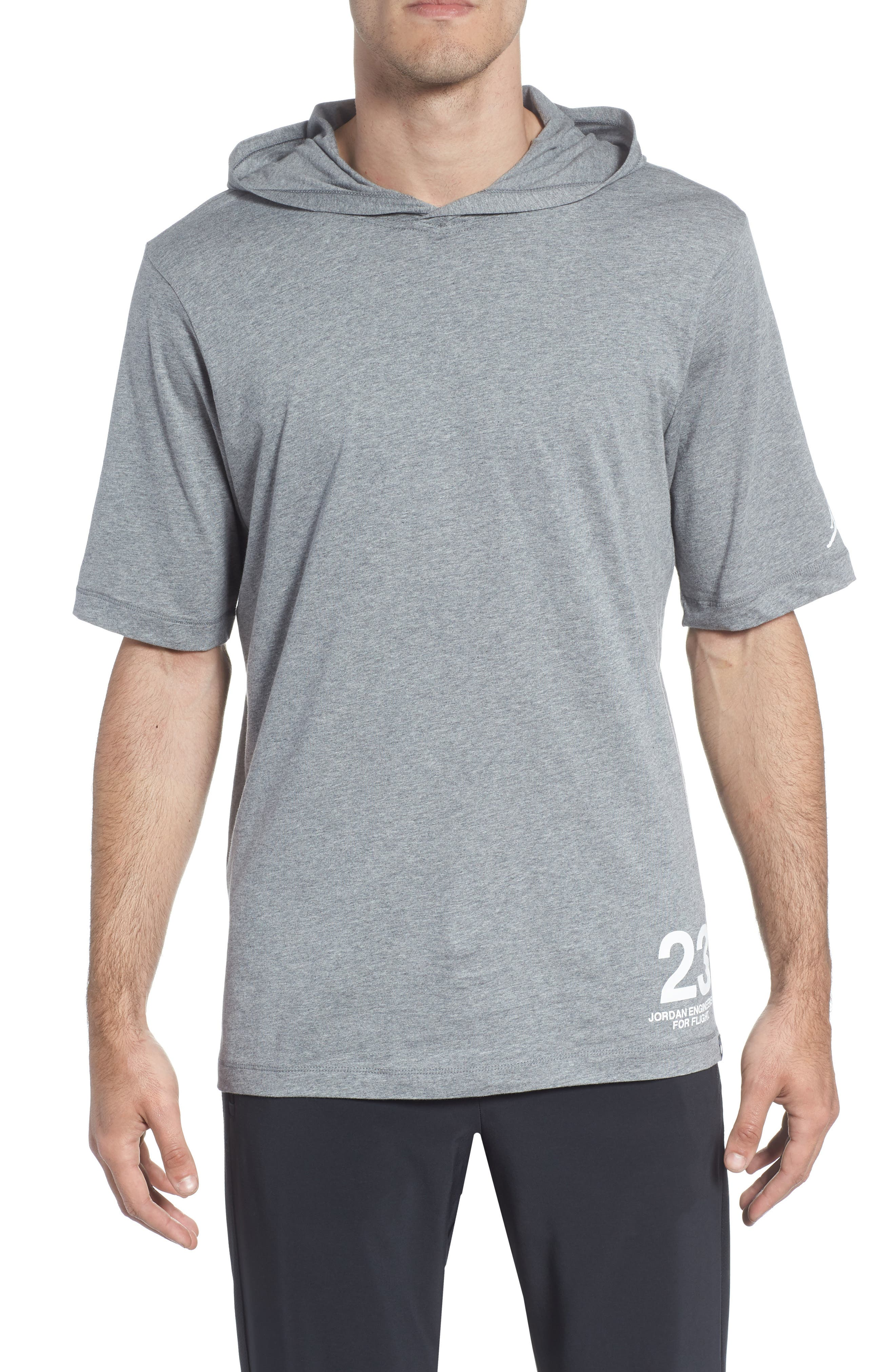 Sportswear 23 Hooded T-Shirt,                             Main thumbnail 1, color,                             CARBON HEATHER/ WHITE