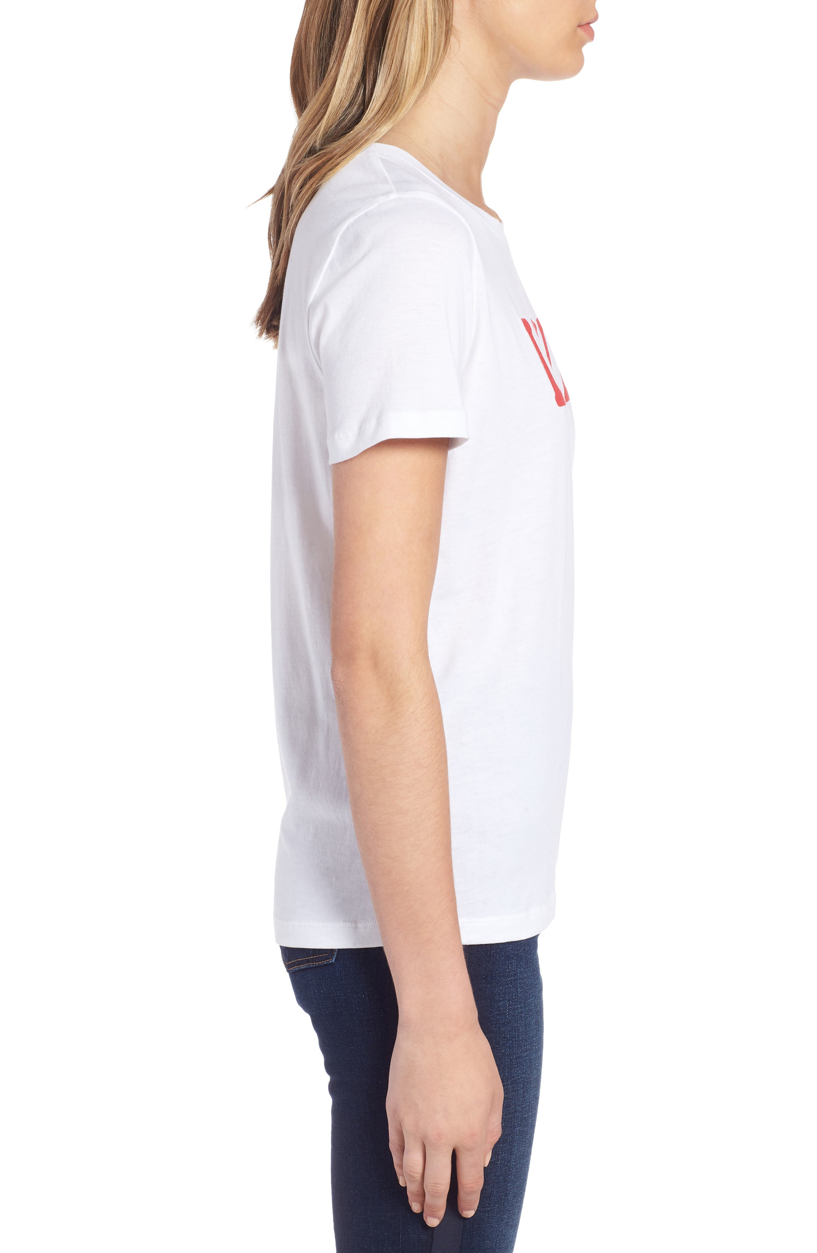 Short Sleeve Graphic Tee,                             Alternate thumbnail 3, color,                             WHITE- RED LOVE U