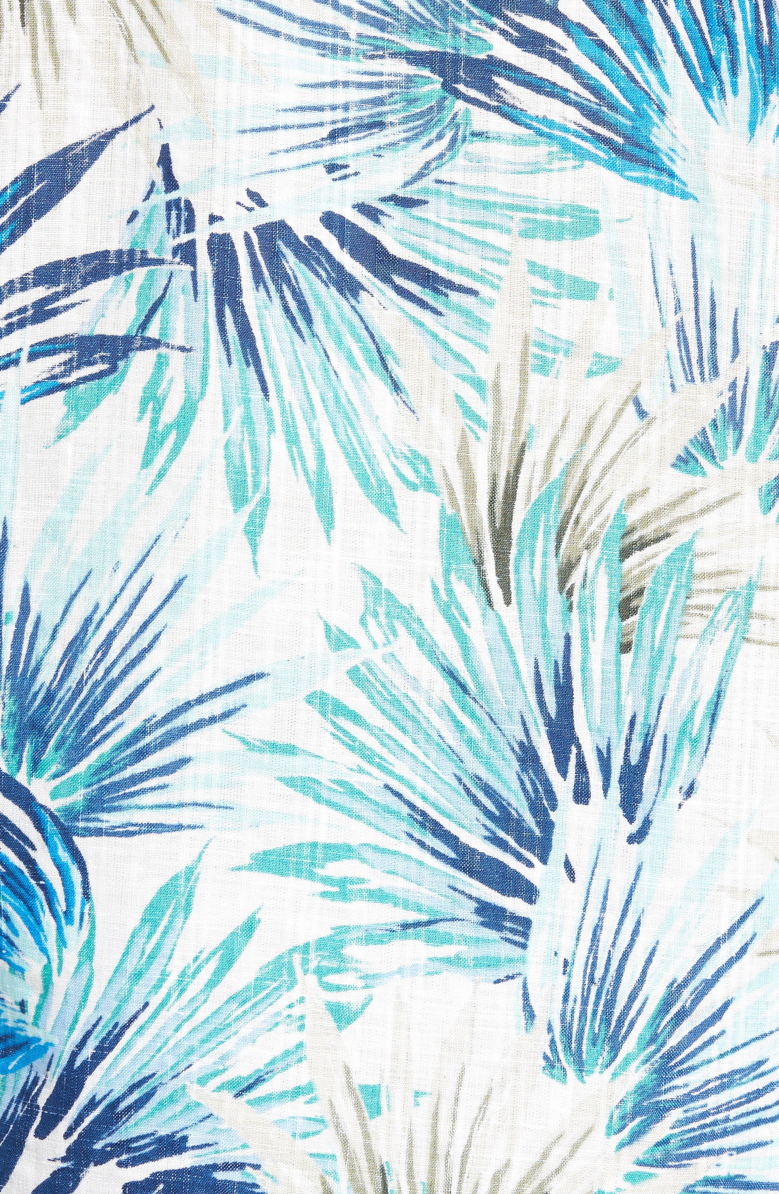 Prism Palms Linen Blend Sport Shirt,                             Alternate thumbnail 5, color,                             400