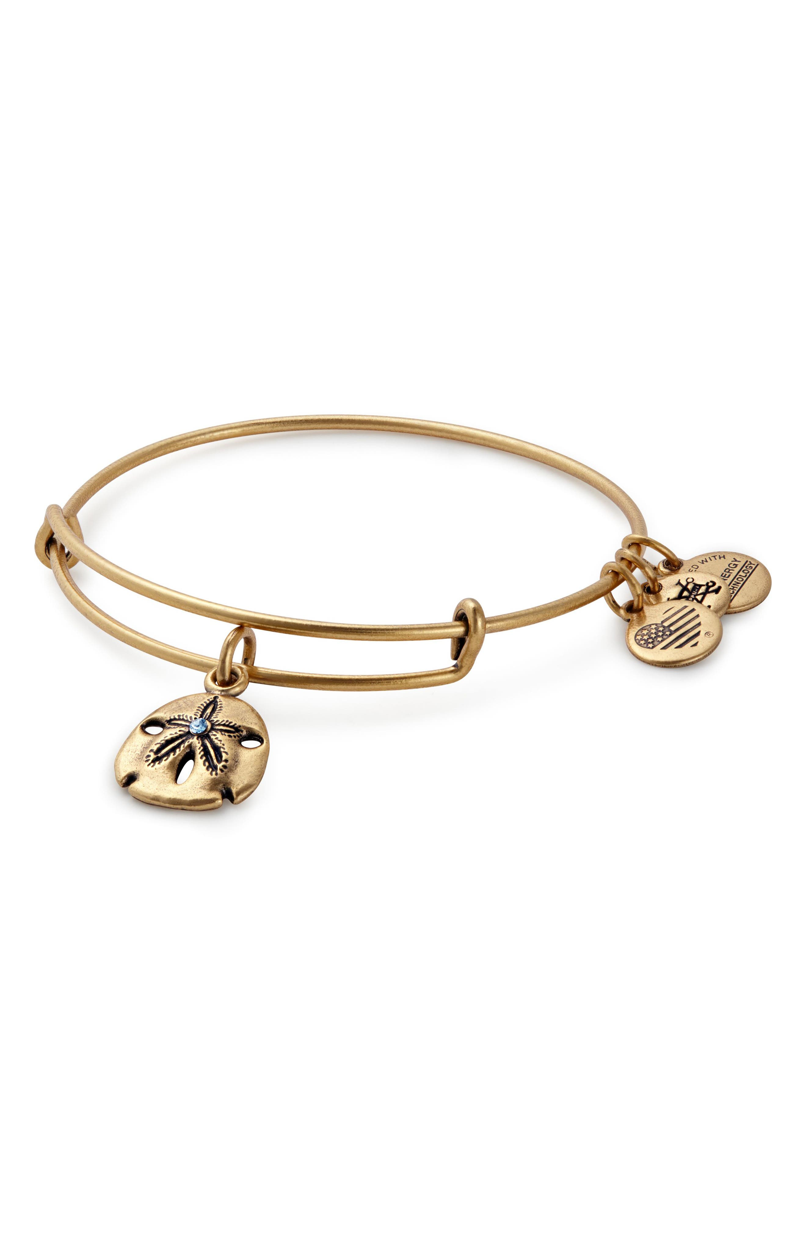 Sand Dollar Adjustable Wire Bangle,                             Main thumbnail 1, color,                             GOLD