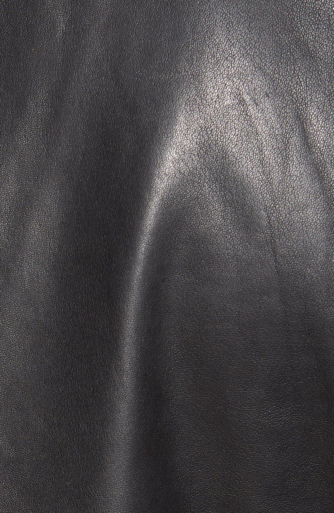 Lambskin Leather Sport Coat,                             Alternate thumbnail 5, color,                             BLACK