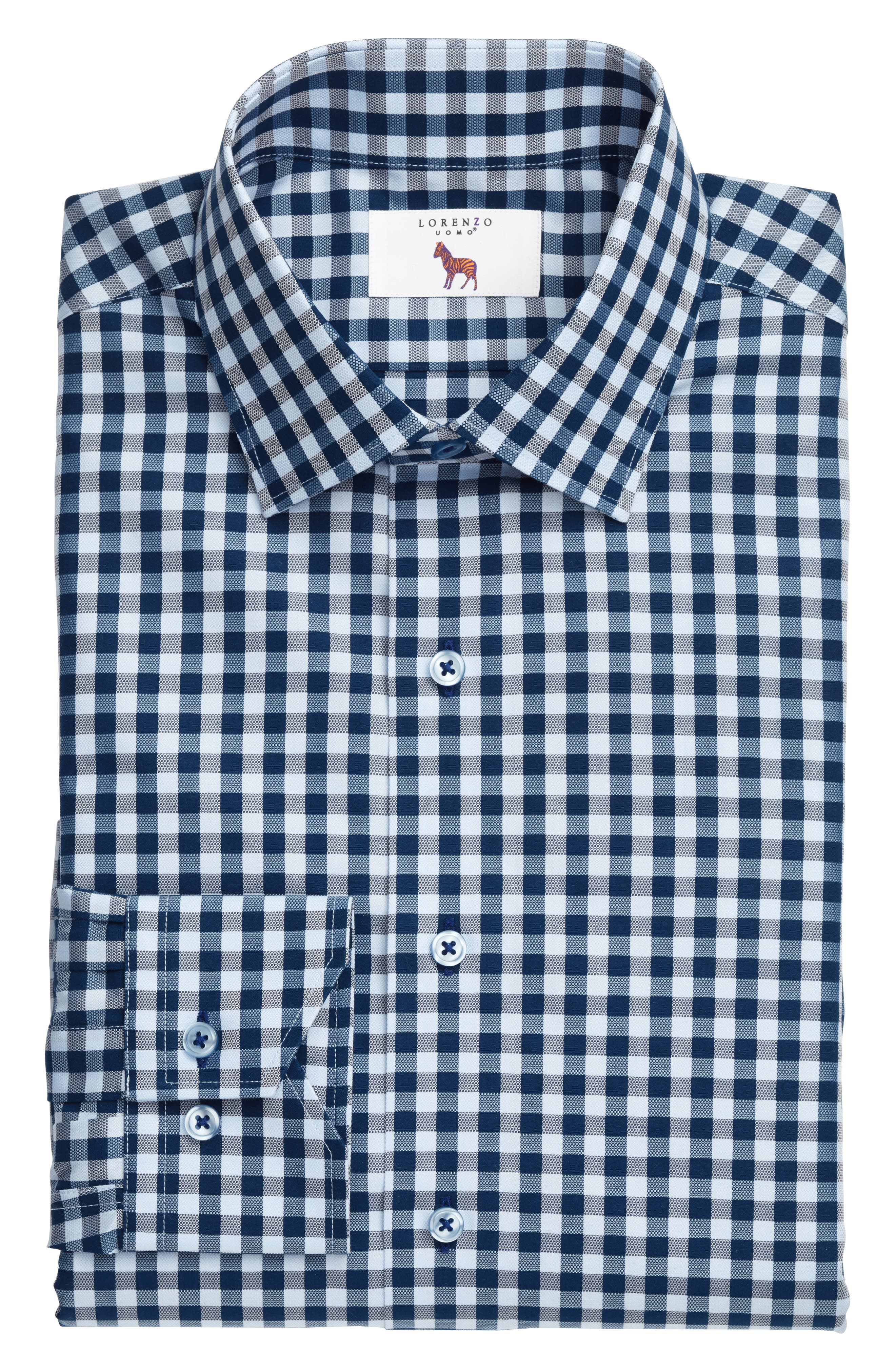 Trim Fit Check Dress Shirt,                             Alternate thumbnail 3, color,                             NAVY