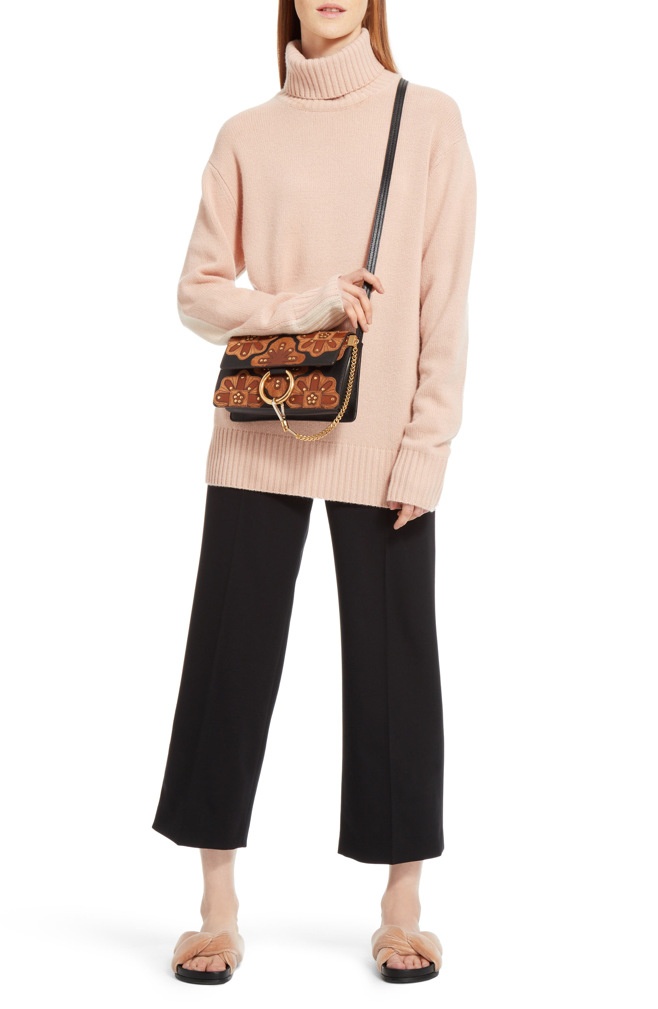Small Faye Studded Leather & Suede Crossbody Bag,                             Alternate thumbnail 2, color,                             001