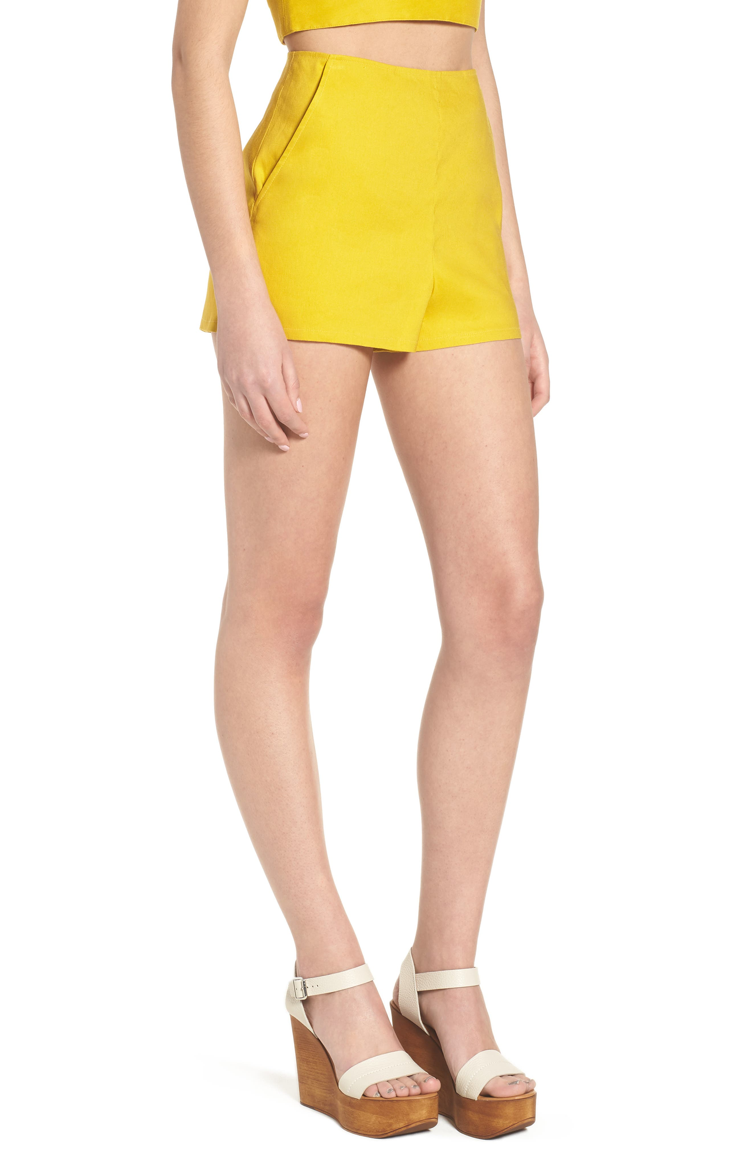 High Waist Linen Blend Shorts,                             Alternate thumbnail 14, color,