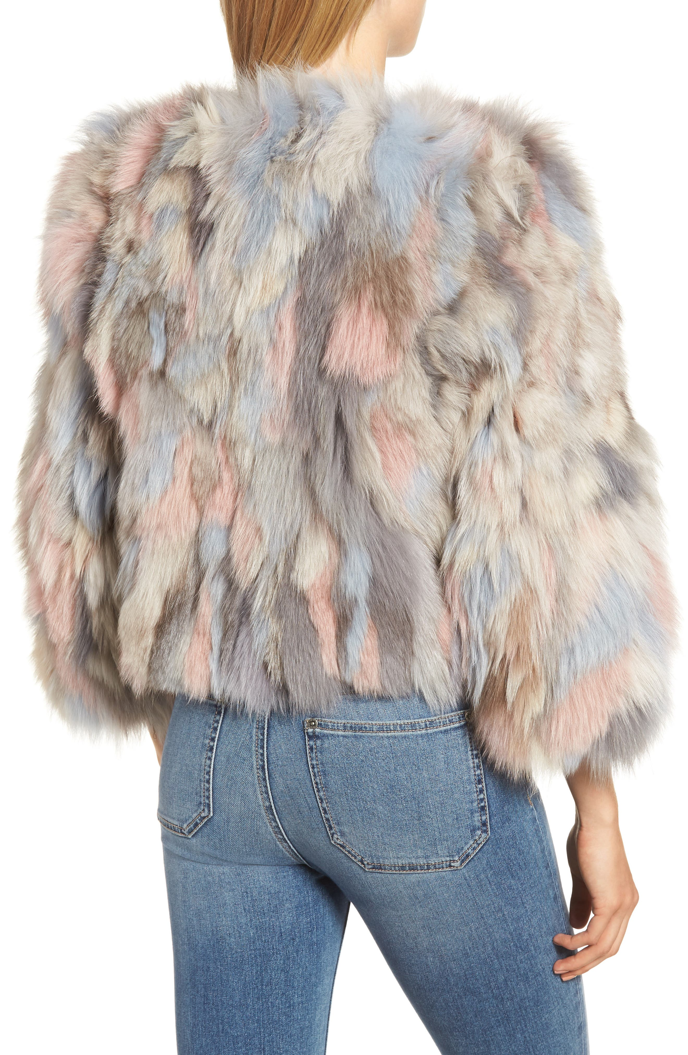 Genuine Fox Fur Bolero,                             Alternate thumbnail 2, color,                             NUDE MULTI