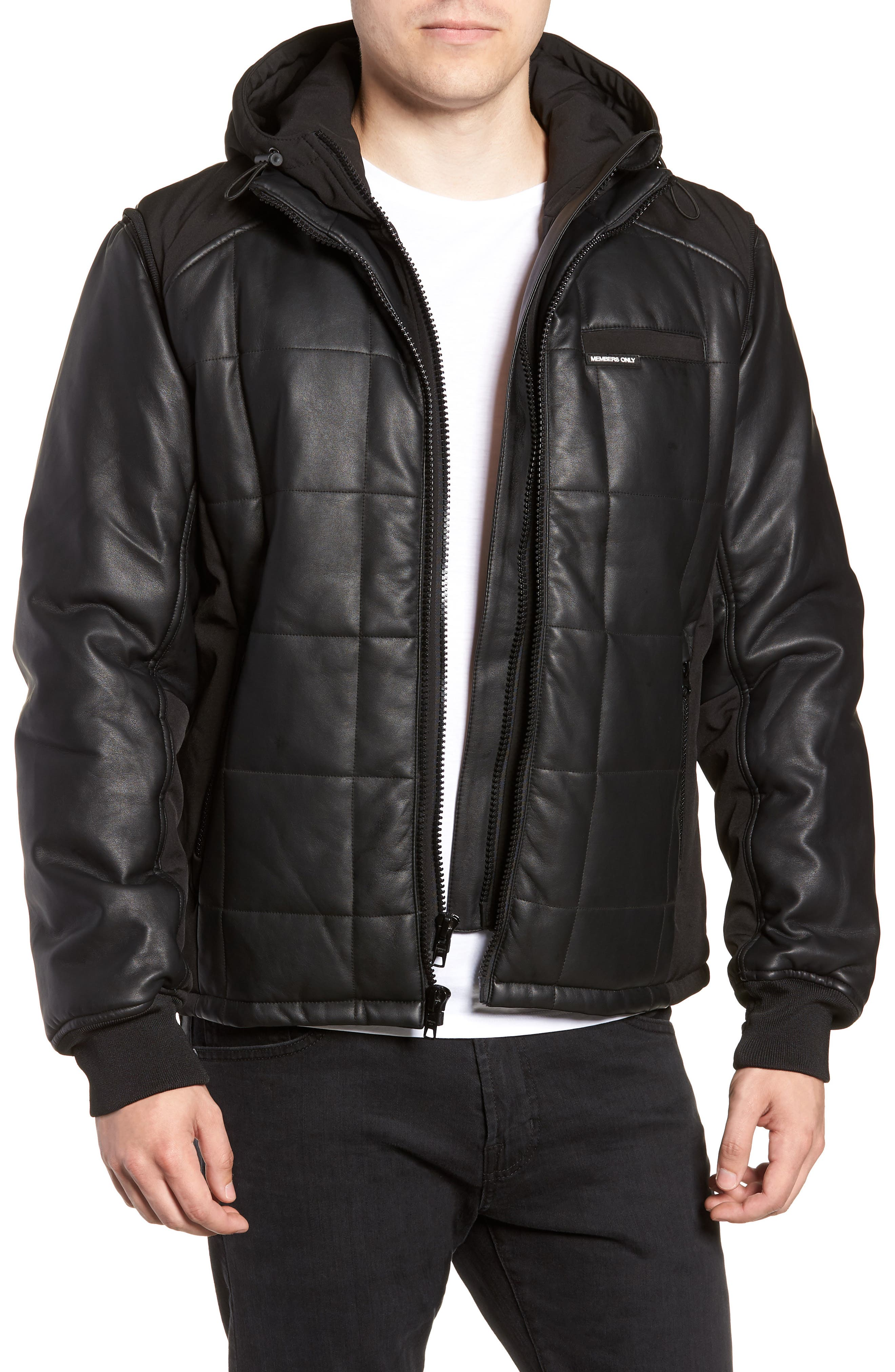 Quilted Convertible Vest/Jacket,                         Main,                         color, BLACK