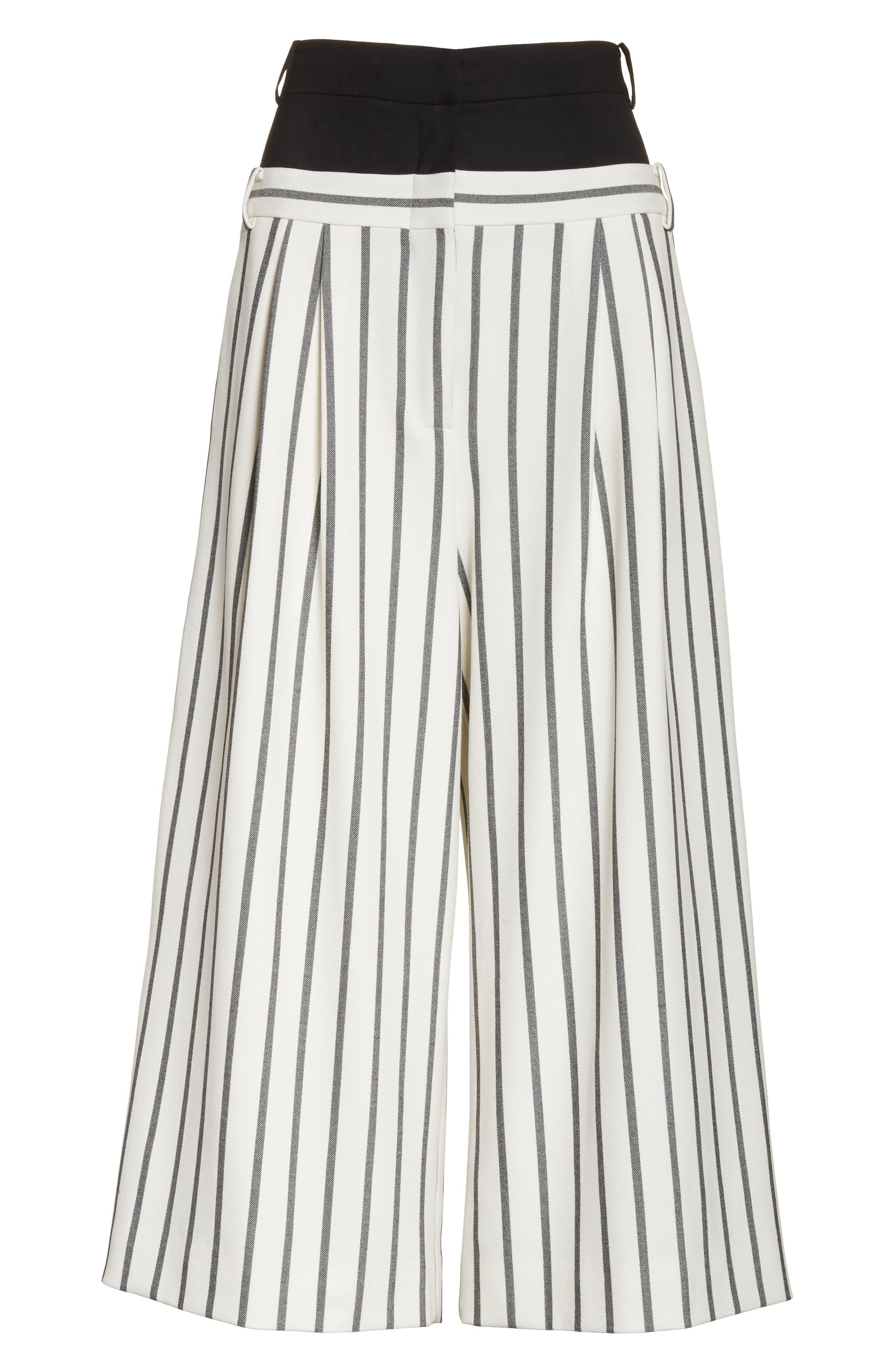 Lucci Stripe Crop Wide Leg Pants,                             Alternate thumbnail 7, color,                             907