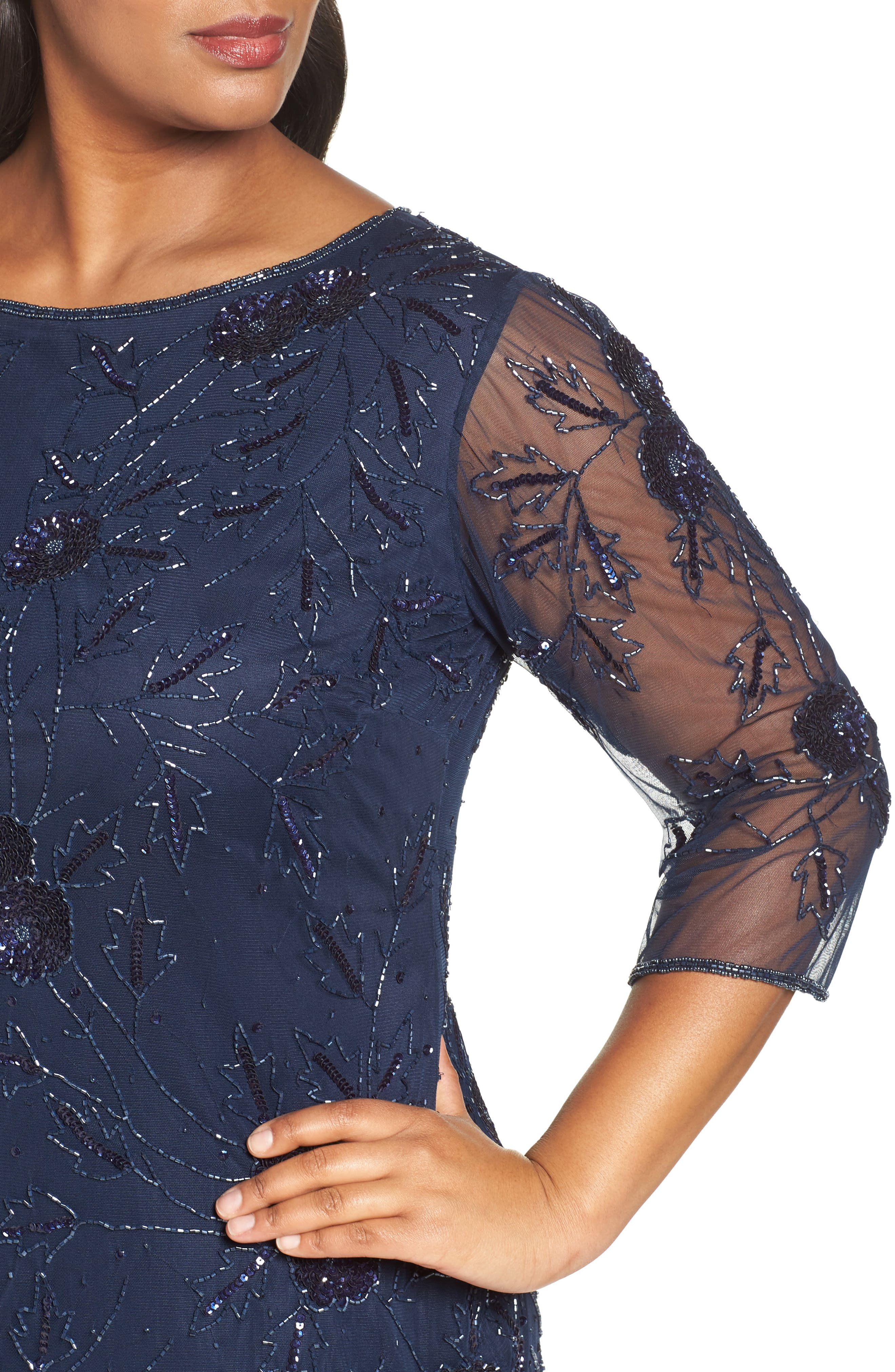 Embroidered Cocktail Dress,                             Alternate thumbnail 4, color,