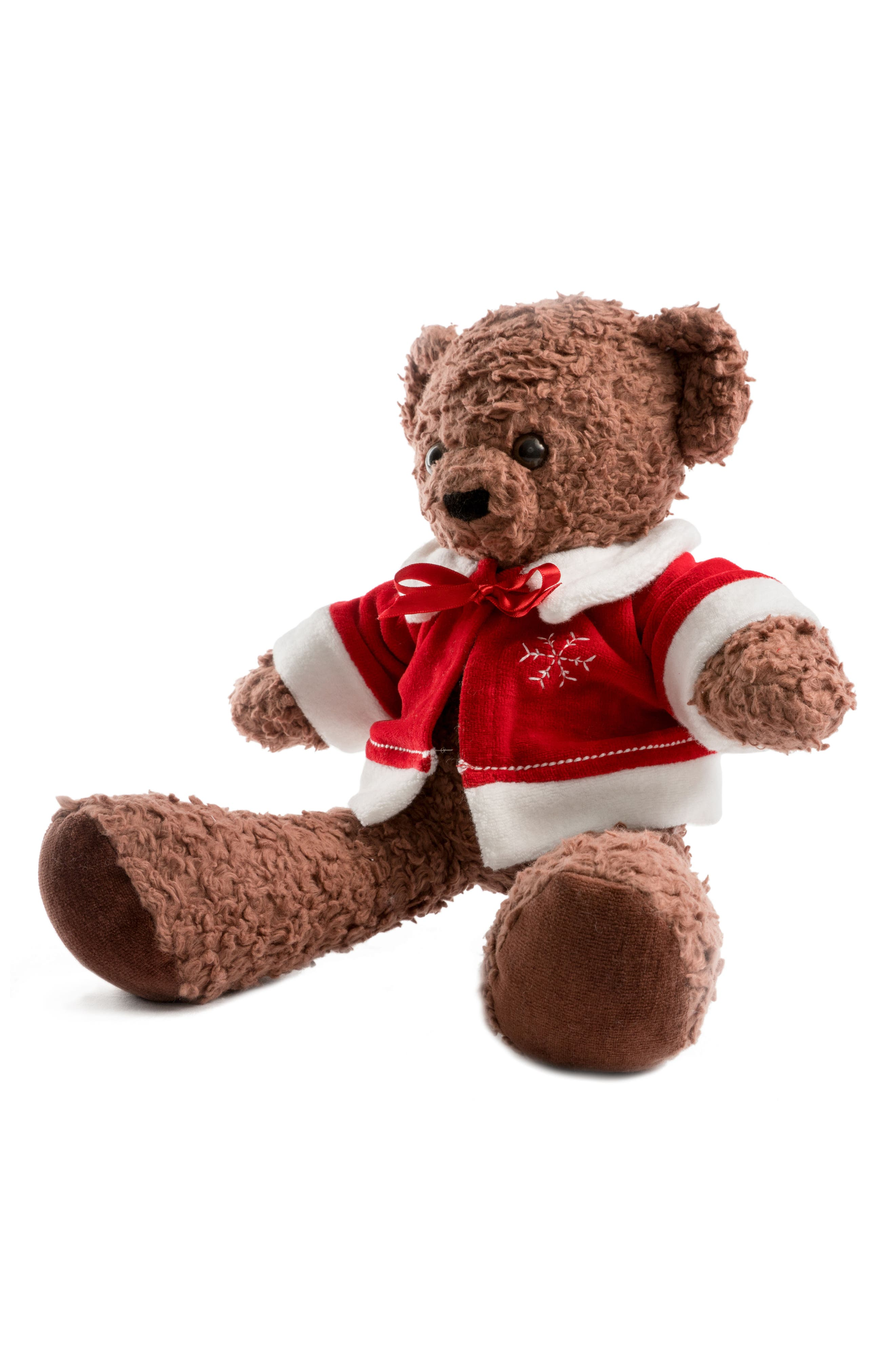 Medium Stuffed Bear with Holiday Jacket,                             Alternate thumbnail 8, color,