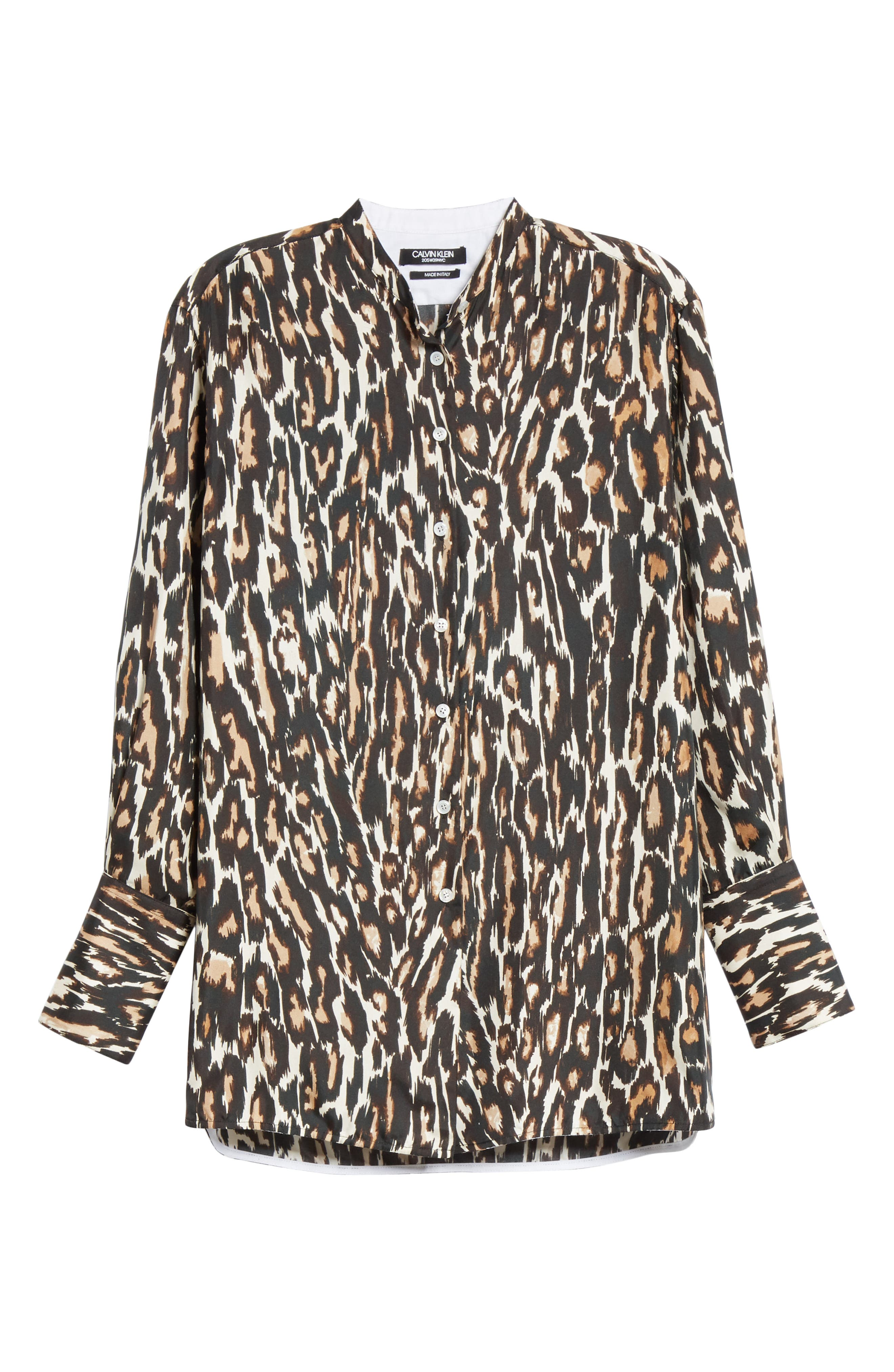 Leopard Print Silk Twill Blouse,                             Alternate thumbnail 7, color,                             IVORY BROWN BLACK BEIGE