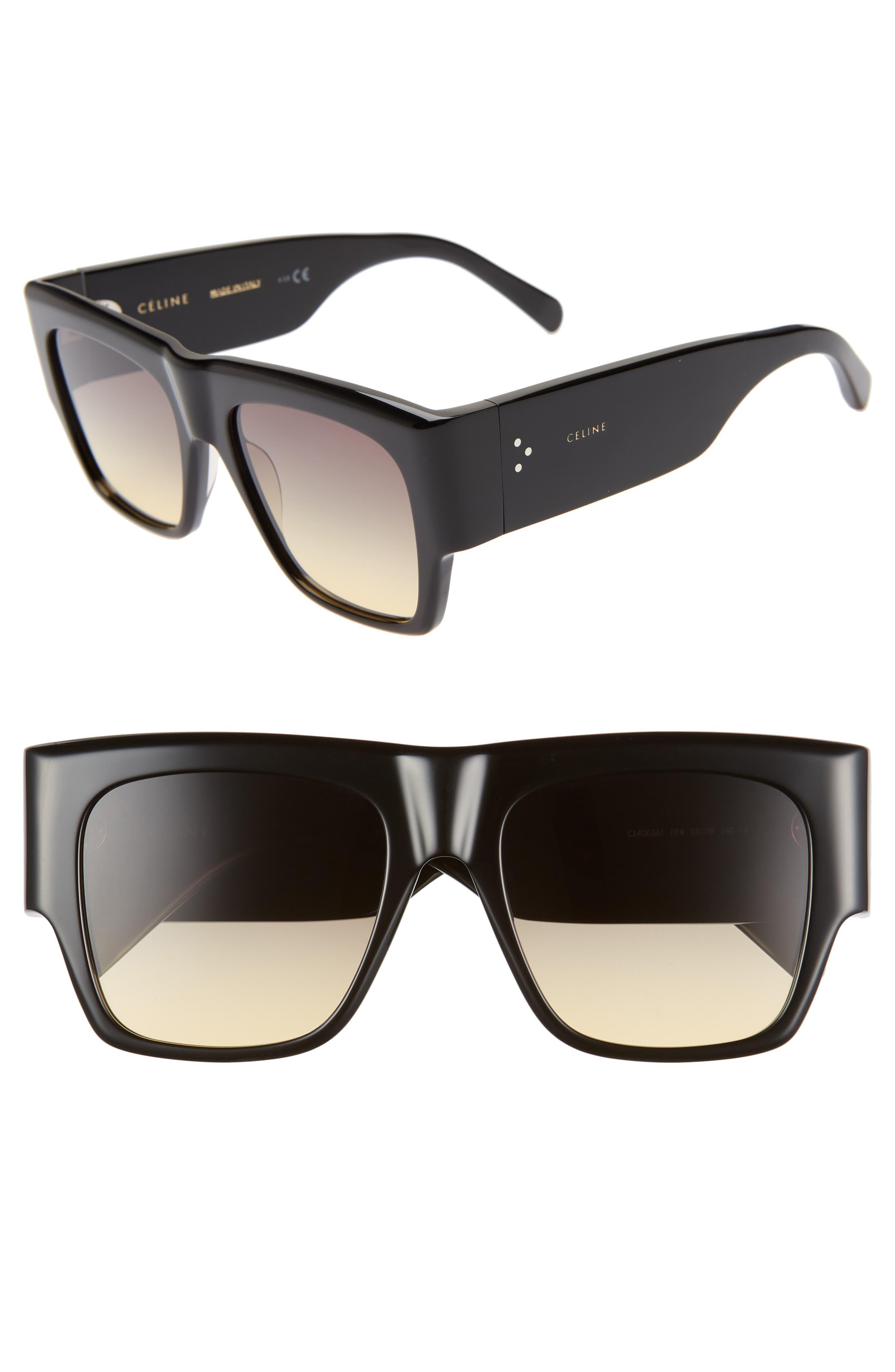 Céline 56mm Special Fit Gradient Flat Top Sunglasses, Main, color, 001