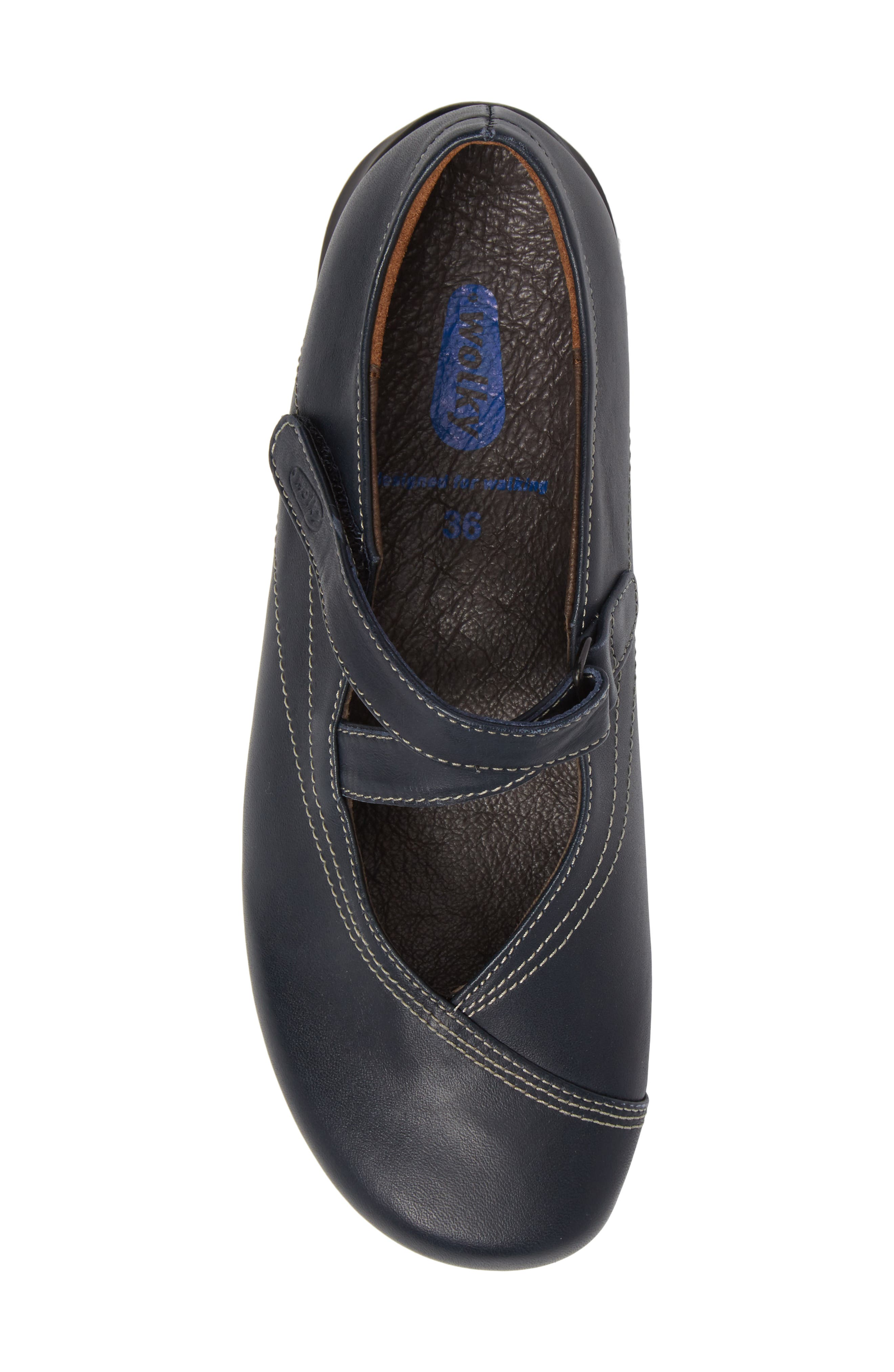 WOLKY,                             Passion Mary Jane Flat,                             Alternate thumbnail 5, color,                             NAVY LEATHER
