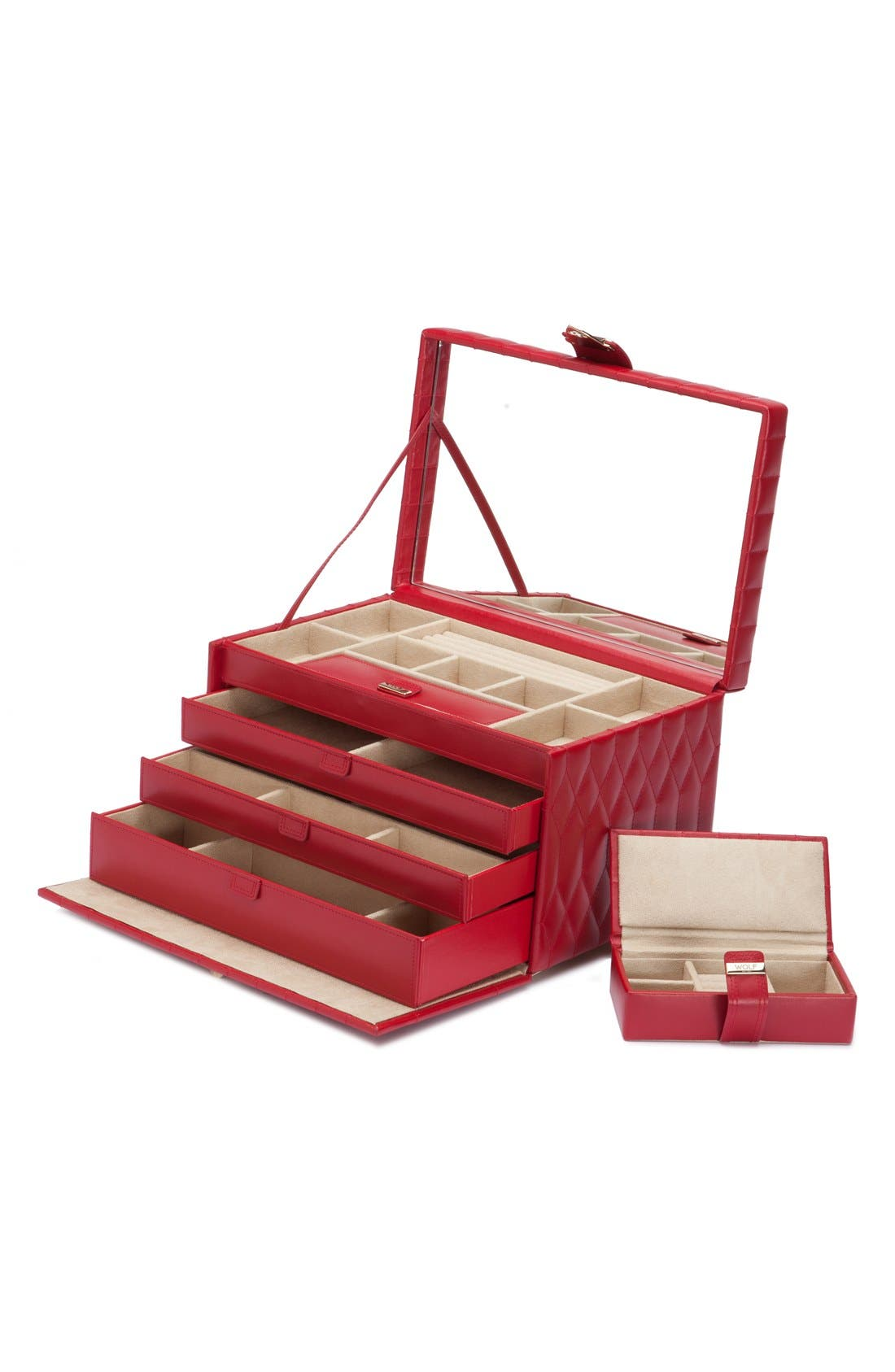 'Caroline' Jewelry Case,                             Alternate thumbnail 3, color,                             RED